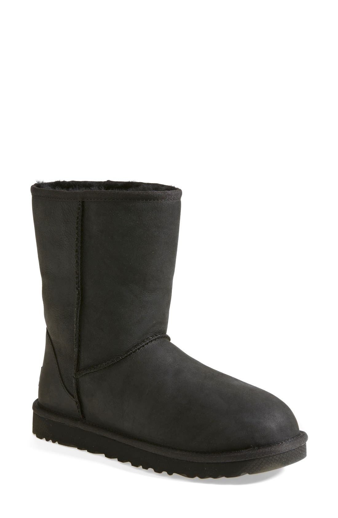 'Classic Short' Leather Water Resistant Boot, Main, color, 001