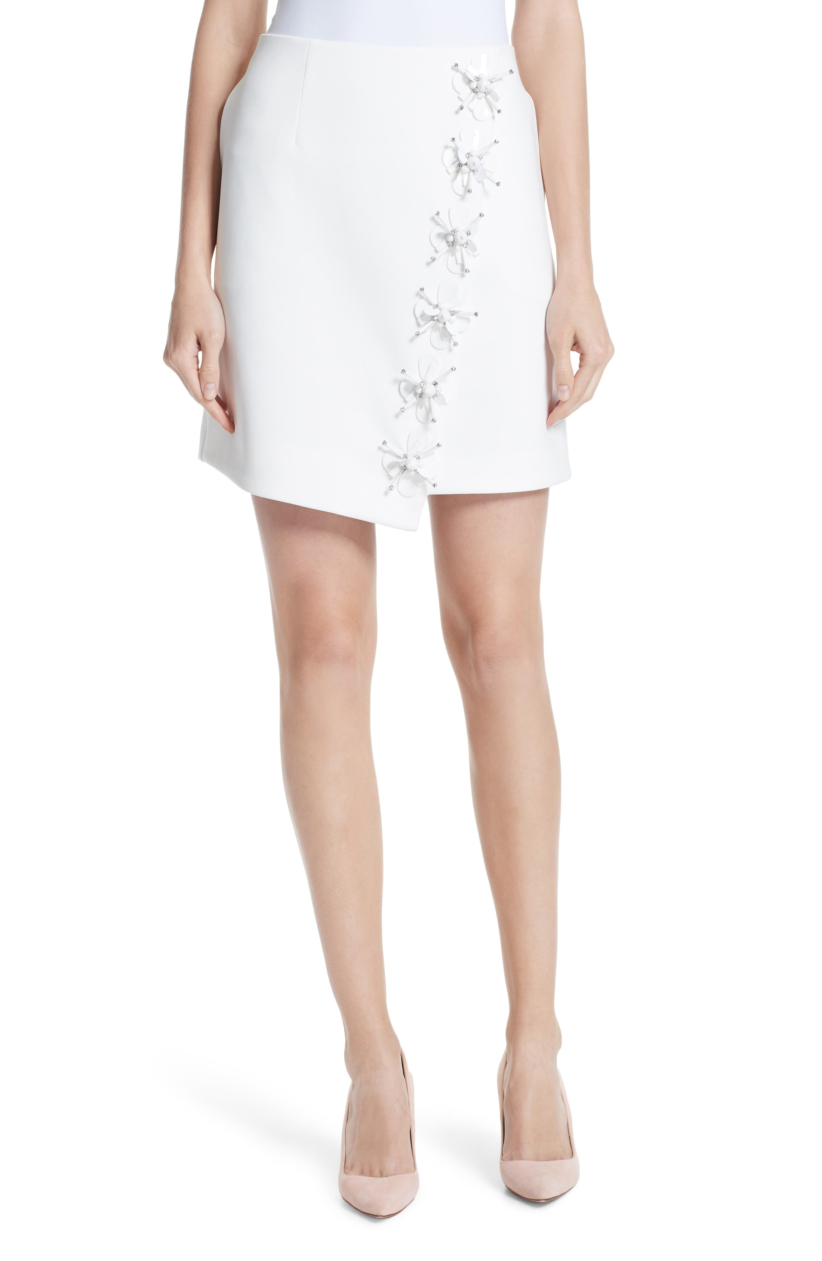 Embellished Faux Wrap Mini Skirt,                         Main,                         color, 110