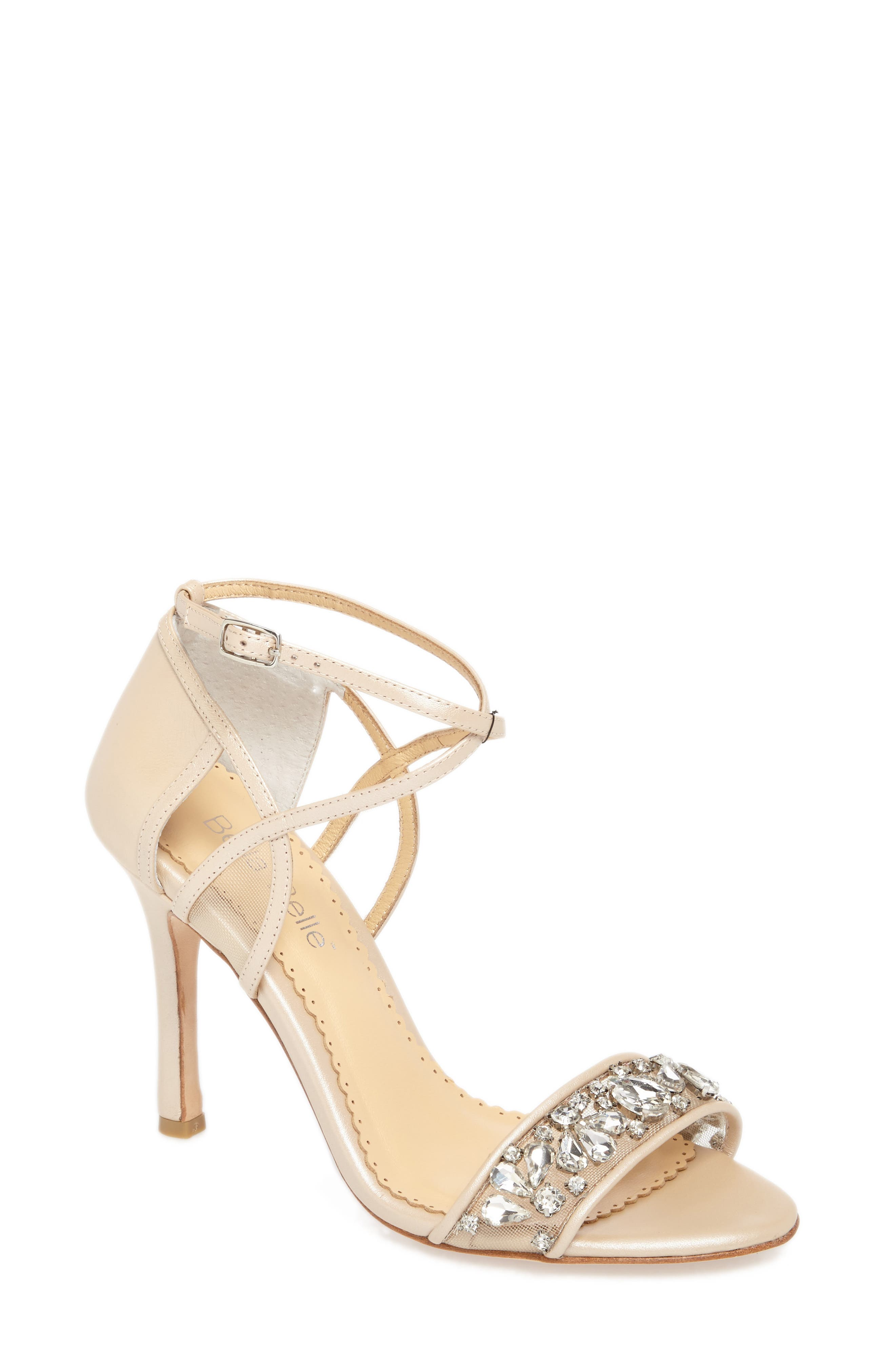 Filipa Embellished Ankle Strap Sandal,                             Main thumbnail 1, color,                             NUDE LEATHER