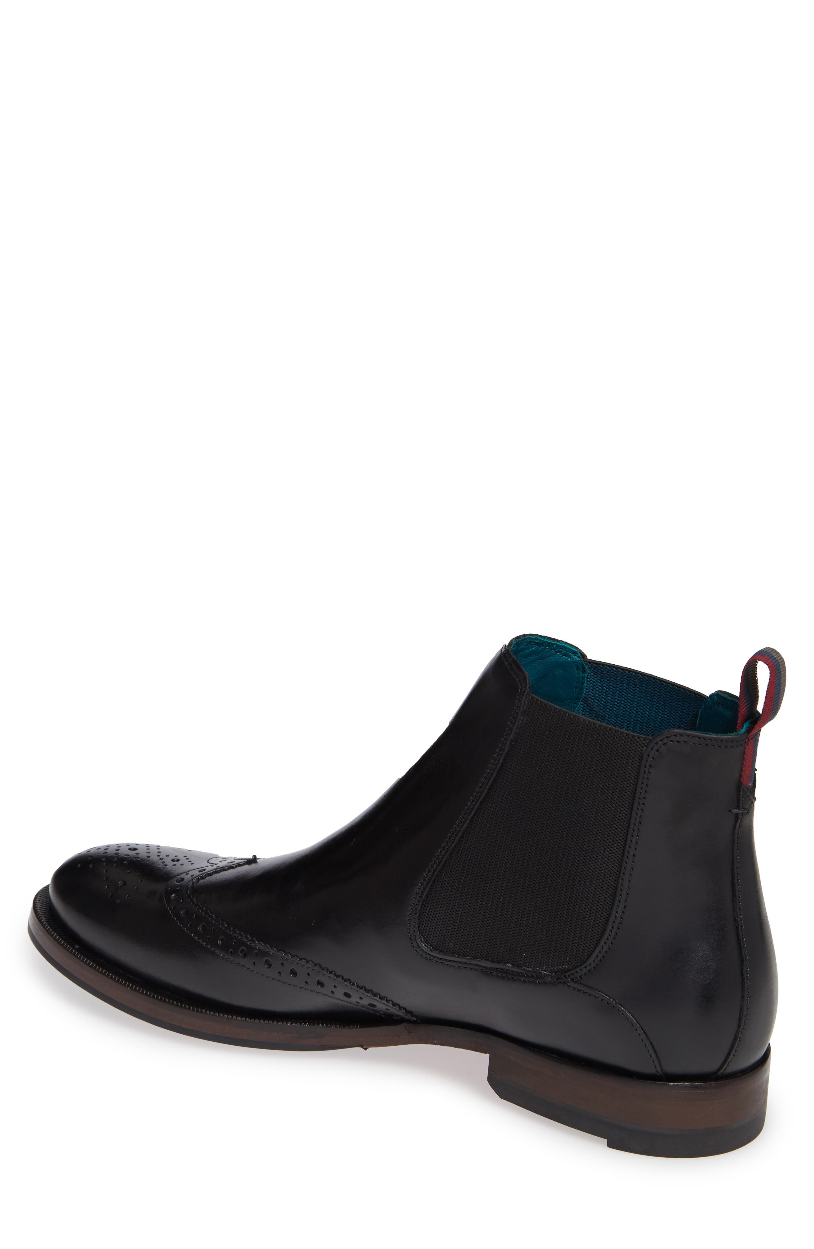 Camheri Wingtip Chelsea Boot,                             Alternate thumbnail 2, color,                             BLACK LEATHER