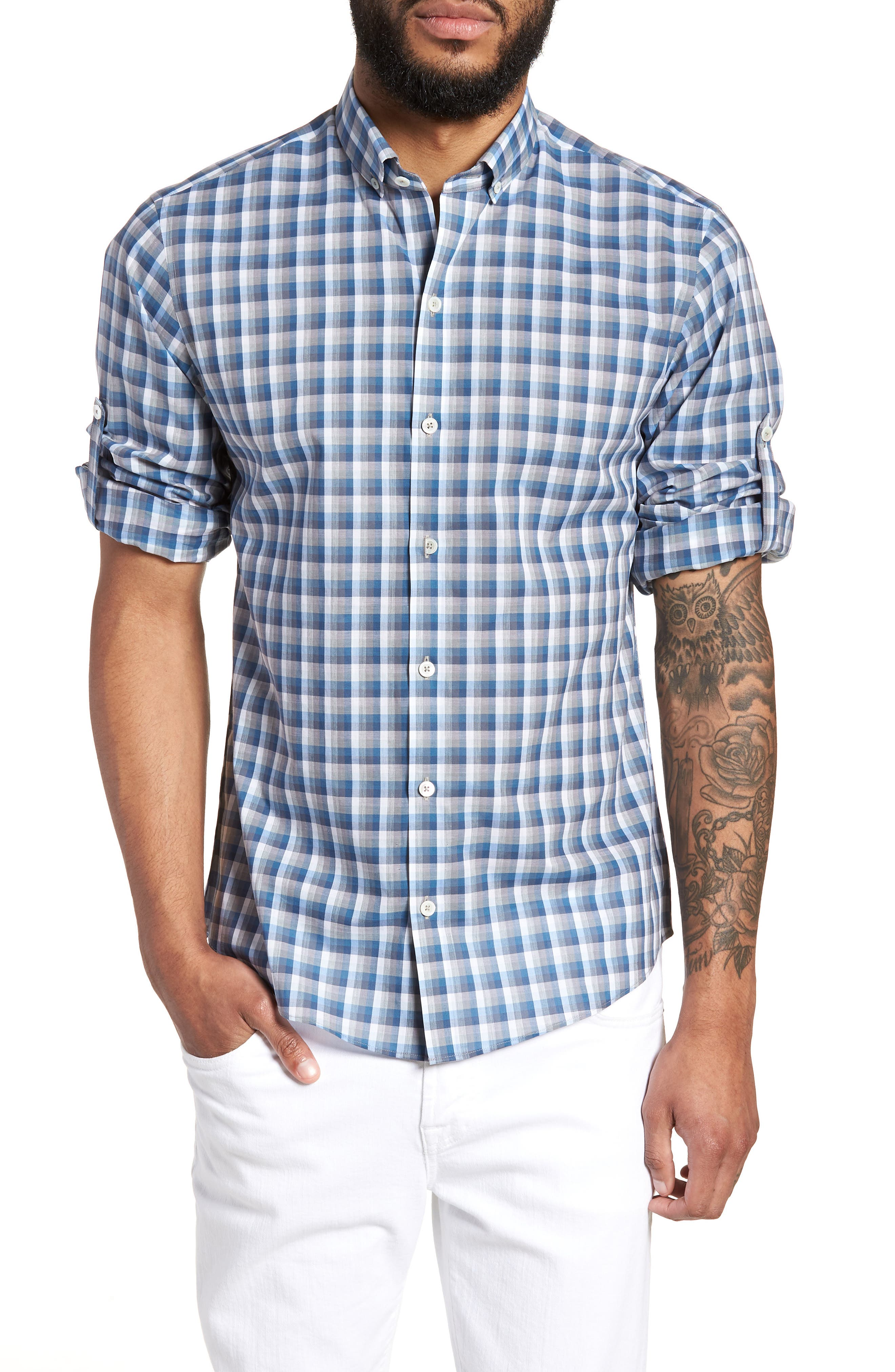 ZACHARY PRELL Cheung Regular Fit Sport Shirt, Main, color, BLUE