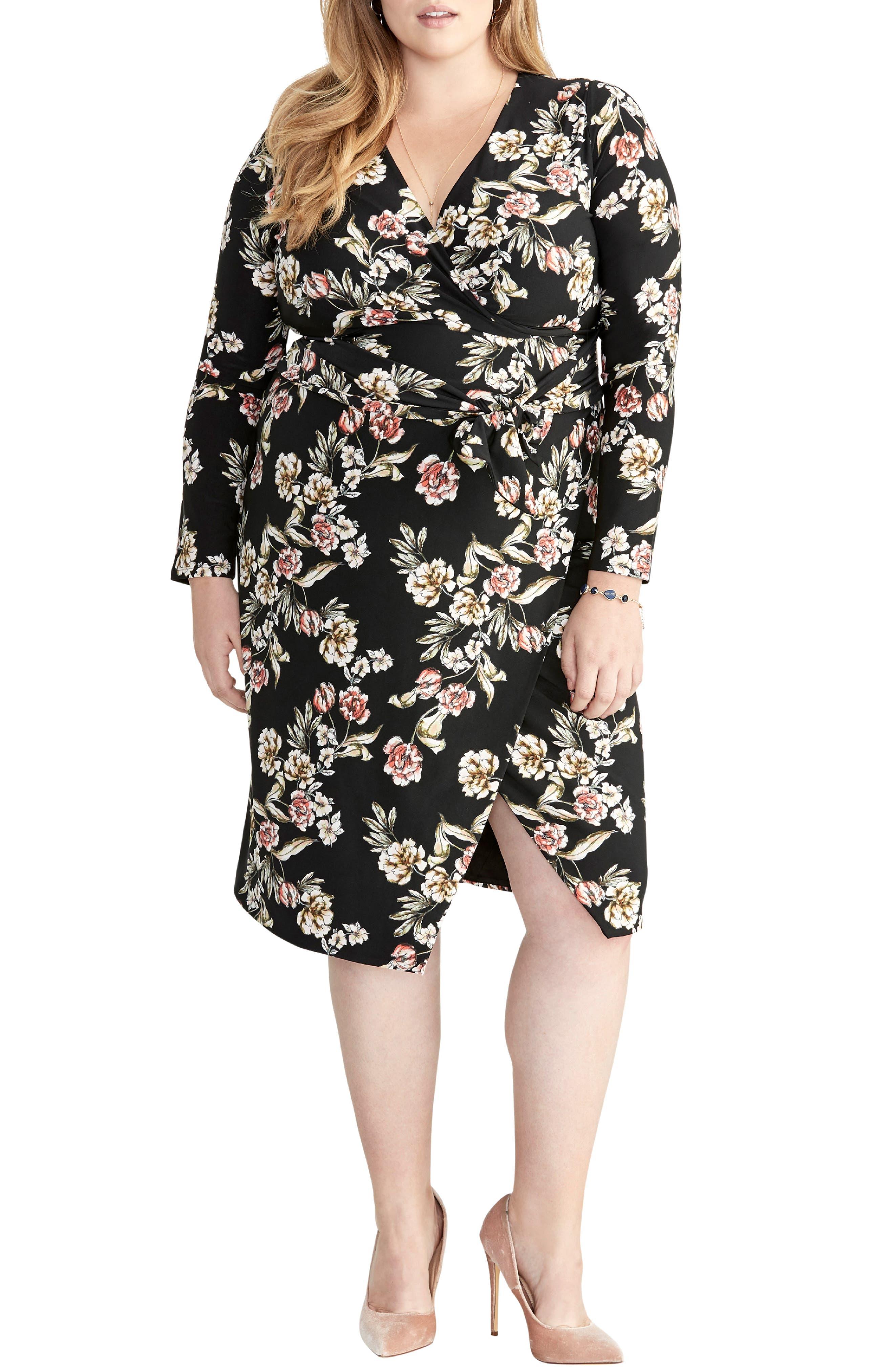 Plus Size Rachel Rachel Roy Floral Faux Wrap Dress, Black