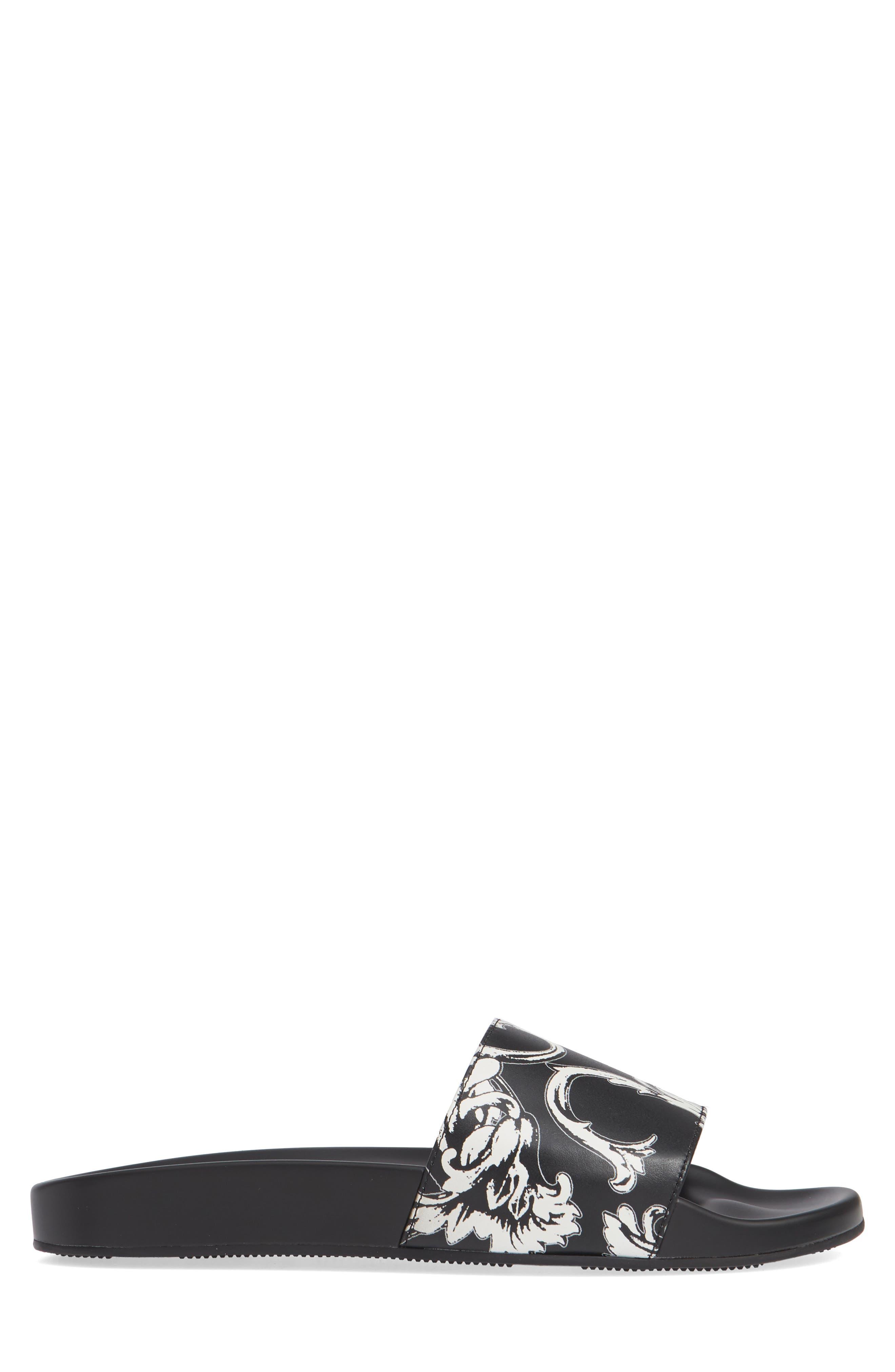 Baroque Print Slide Sandal,                             Alternate thumbnail 3, color,                             WHITE/ BLACK