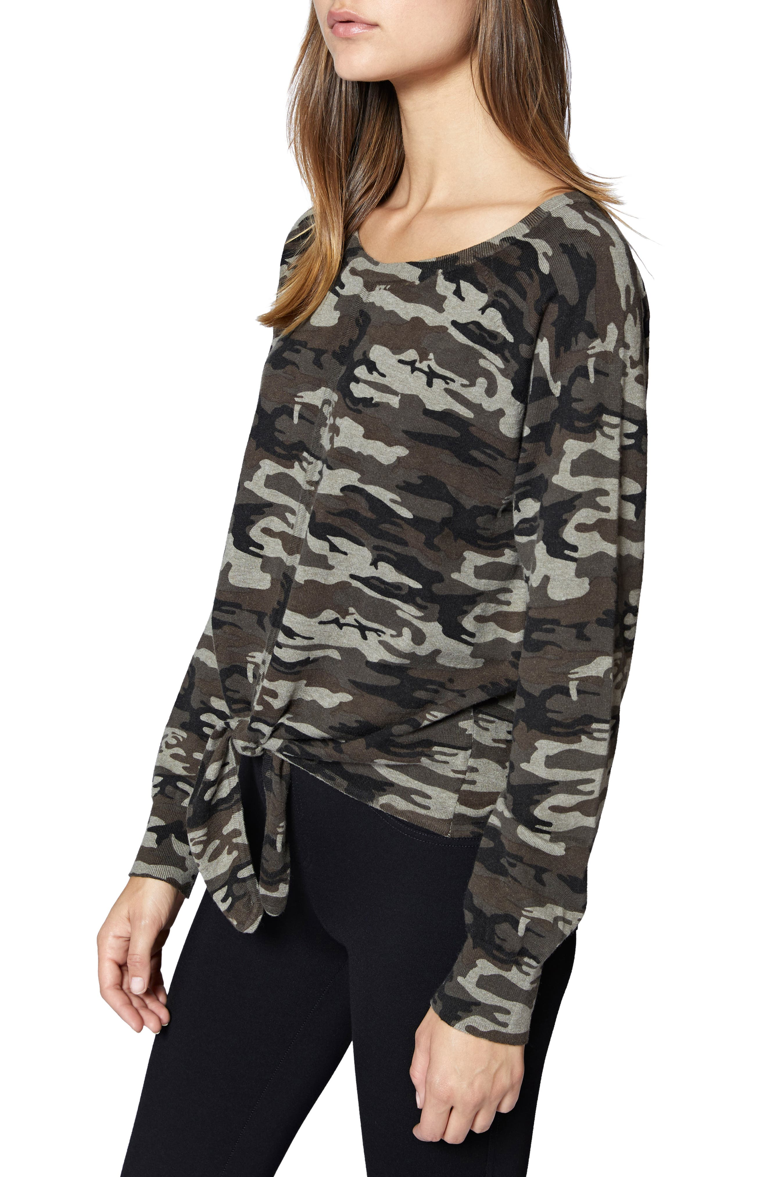 Laguna Camouflage Tie Front Top,                             Alternate thumbnail 3, color,                             HUMAN NATURE CAMO