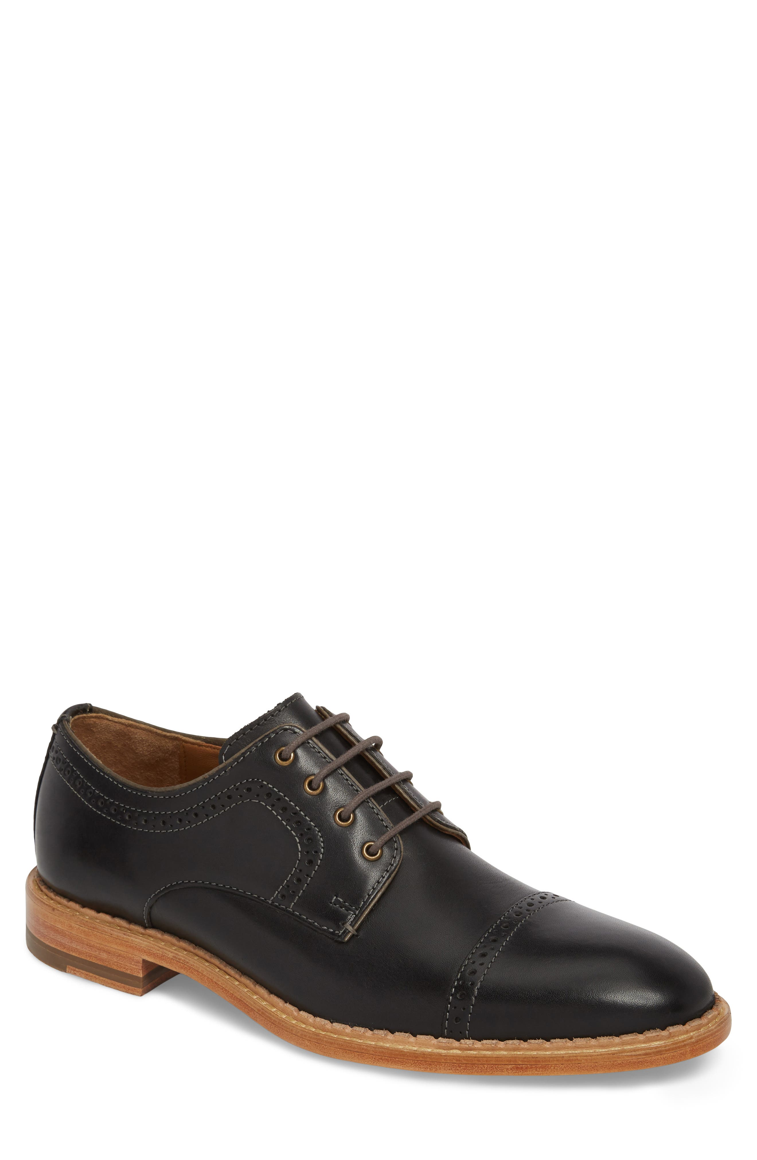 Chambliss Cap Toe Derby,                         Main,                         color, BLACK LEATHER