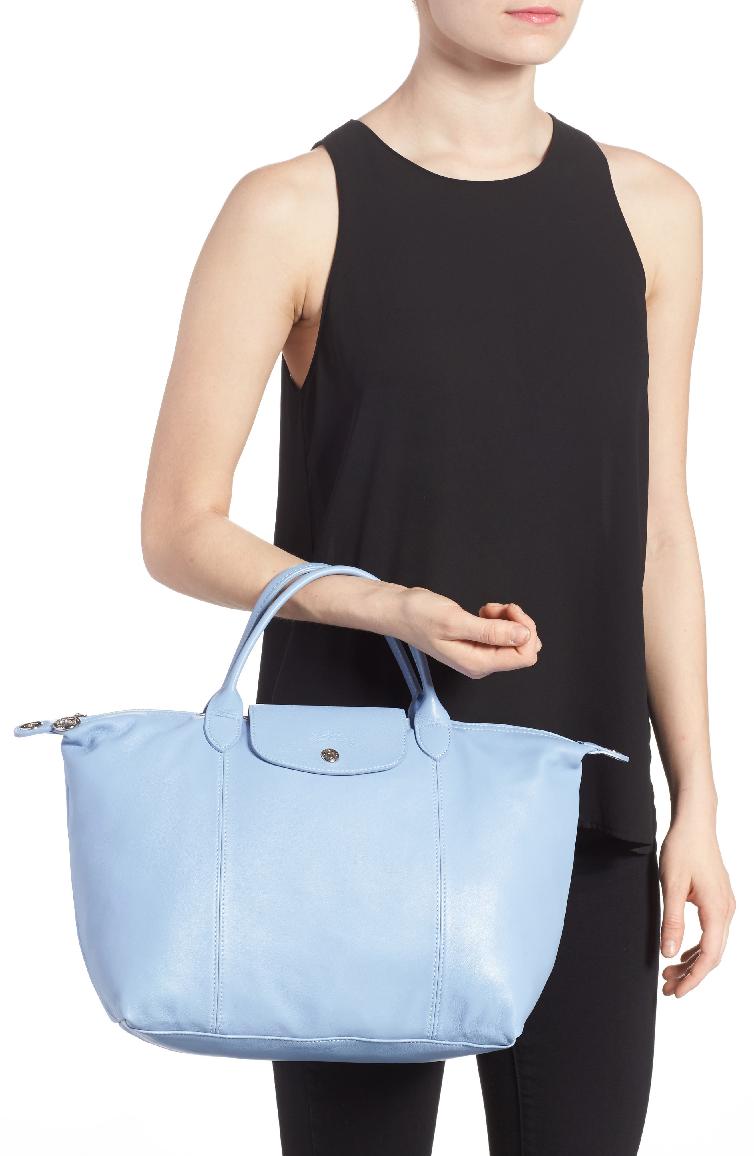 Medium 'Le Pliage Cuir' Leather Top Handle Tote,                             Alternate thumbnail 38, color,