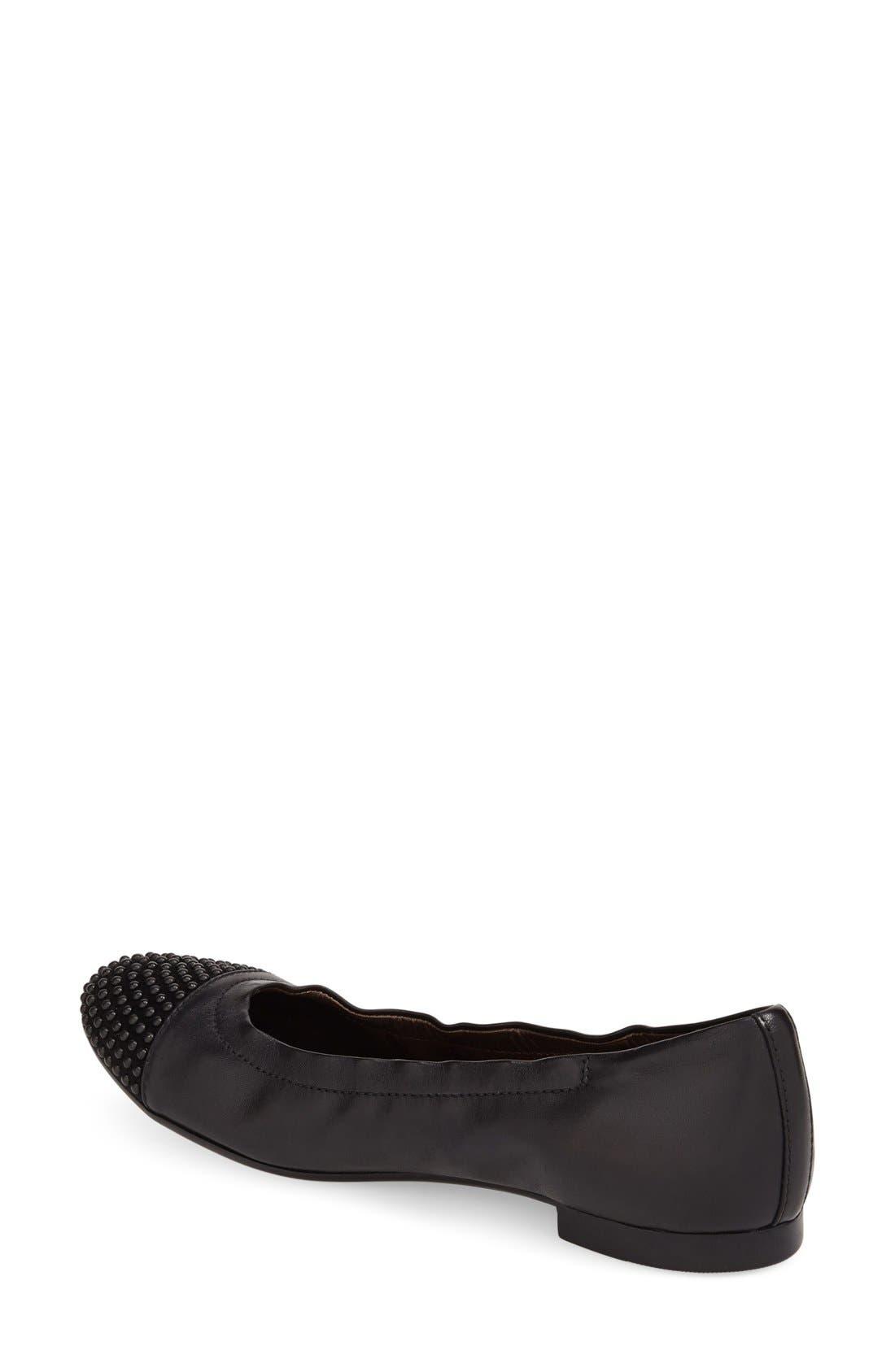 'Blakely' Studded Cap Toe Ballet Flat,                             Alternate thumbnail 3, color,                             001