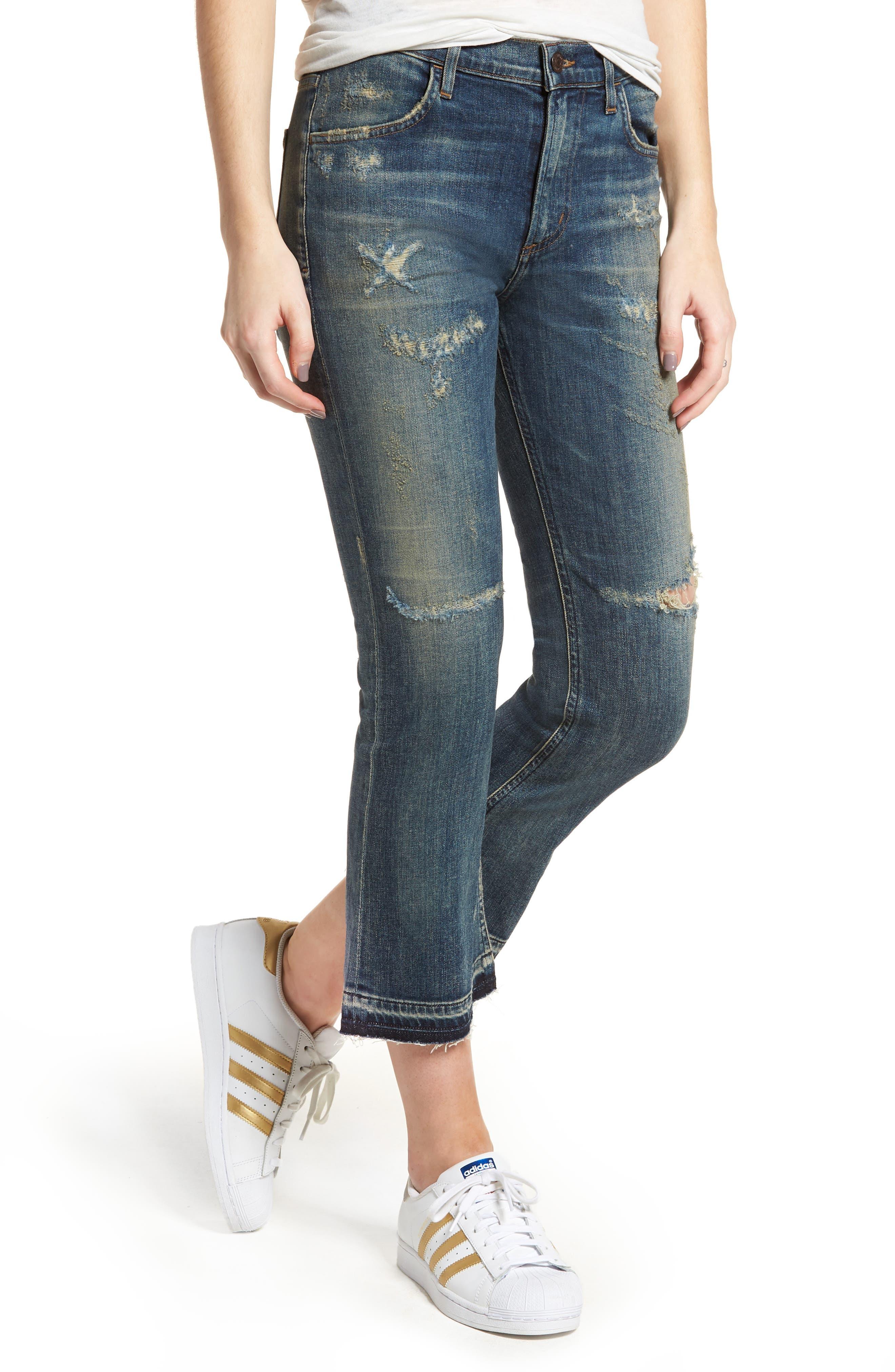 Drew Crop Flare Jeans,                         Main,                         color, 422