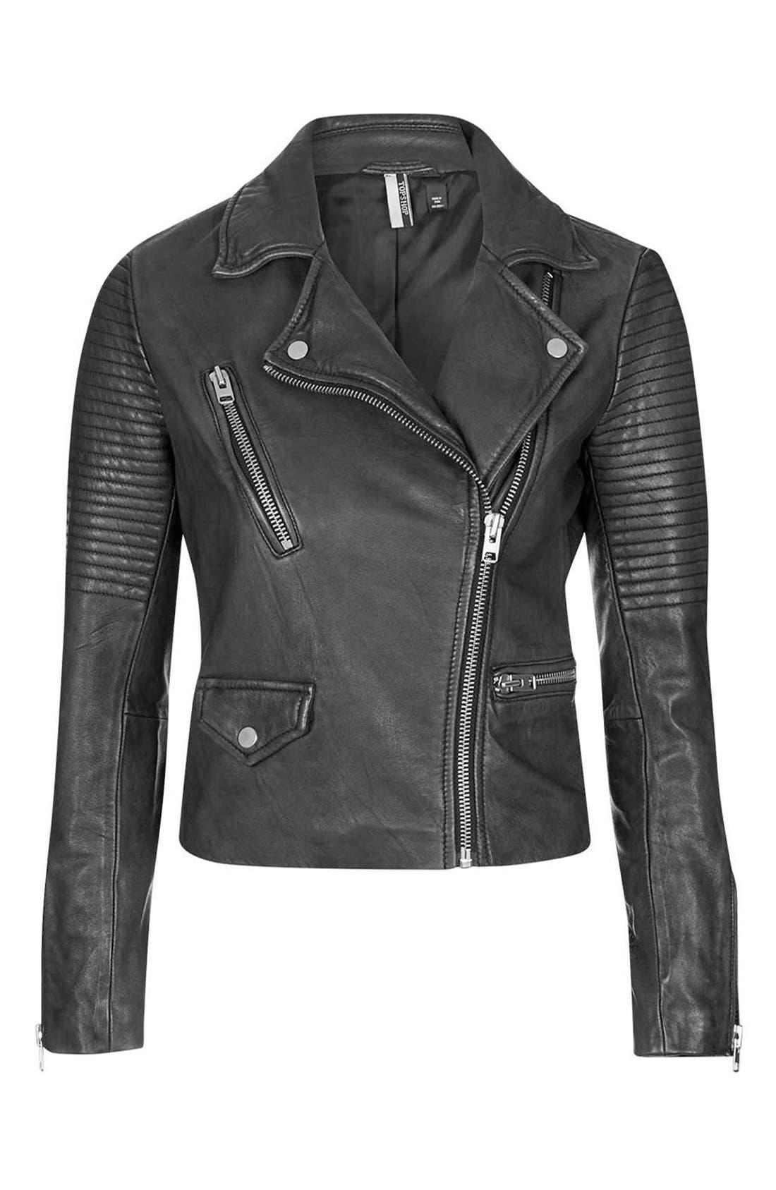 'Orbit' Leather Moto Jacket,                             Alternate thumbnail 2, color,                             001