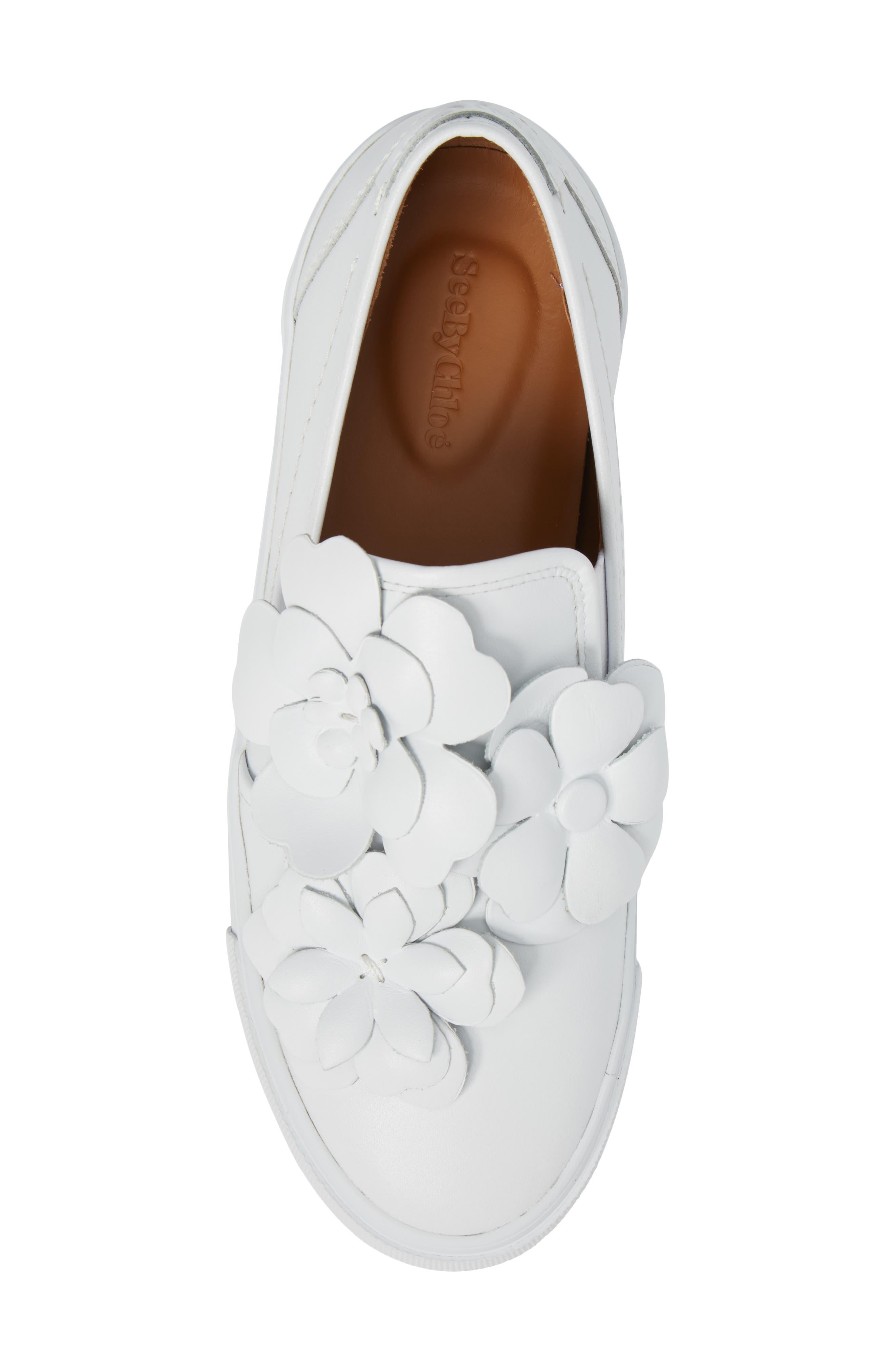 Vera Floral Appliqué Slip-On Sneaker,                             Alternate thumbnail 5, color,                             WHITE