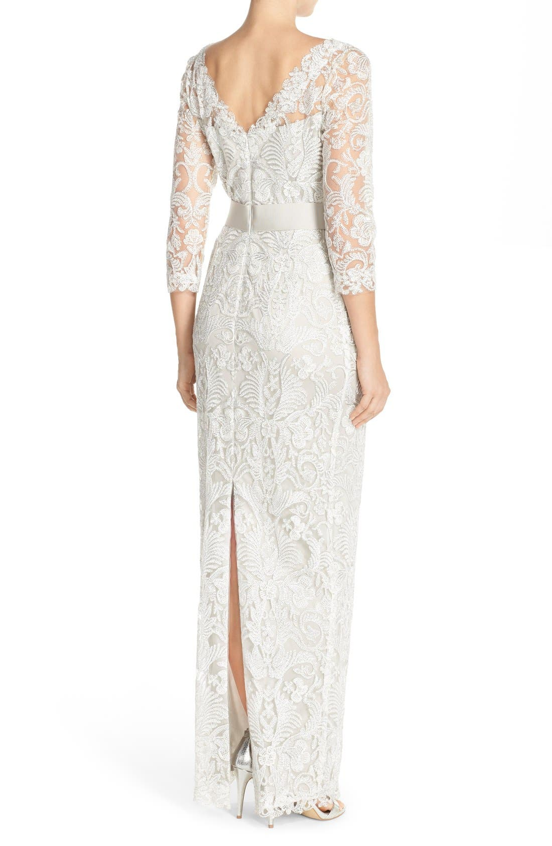 Embroidered Mesh Column Gown,                             Alternate thumbnail 5, color,                             040