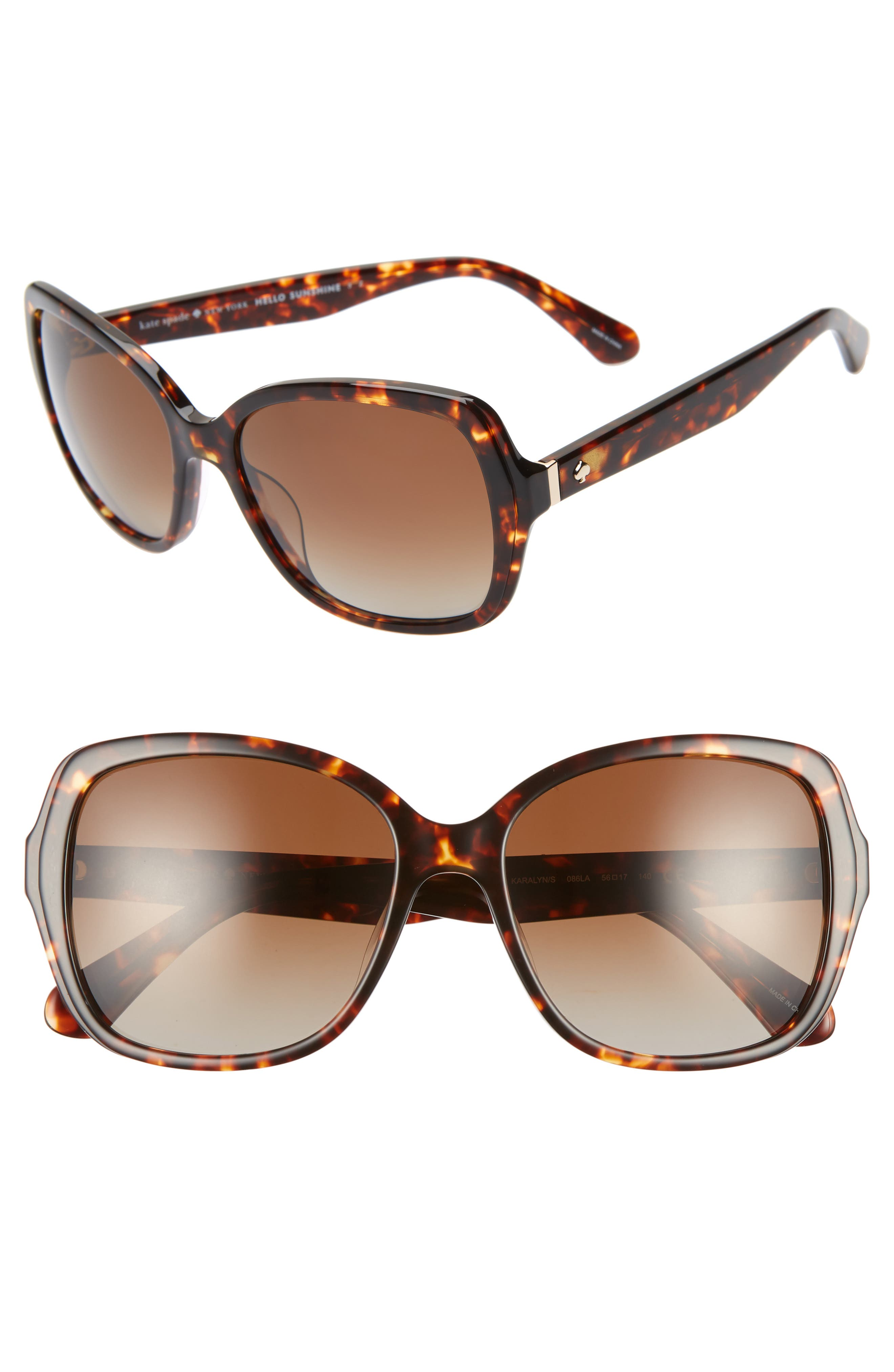 karalyns 56mm oversized sunglasses,                         Main,                         color, DARK HAVANA