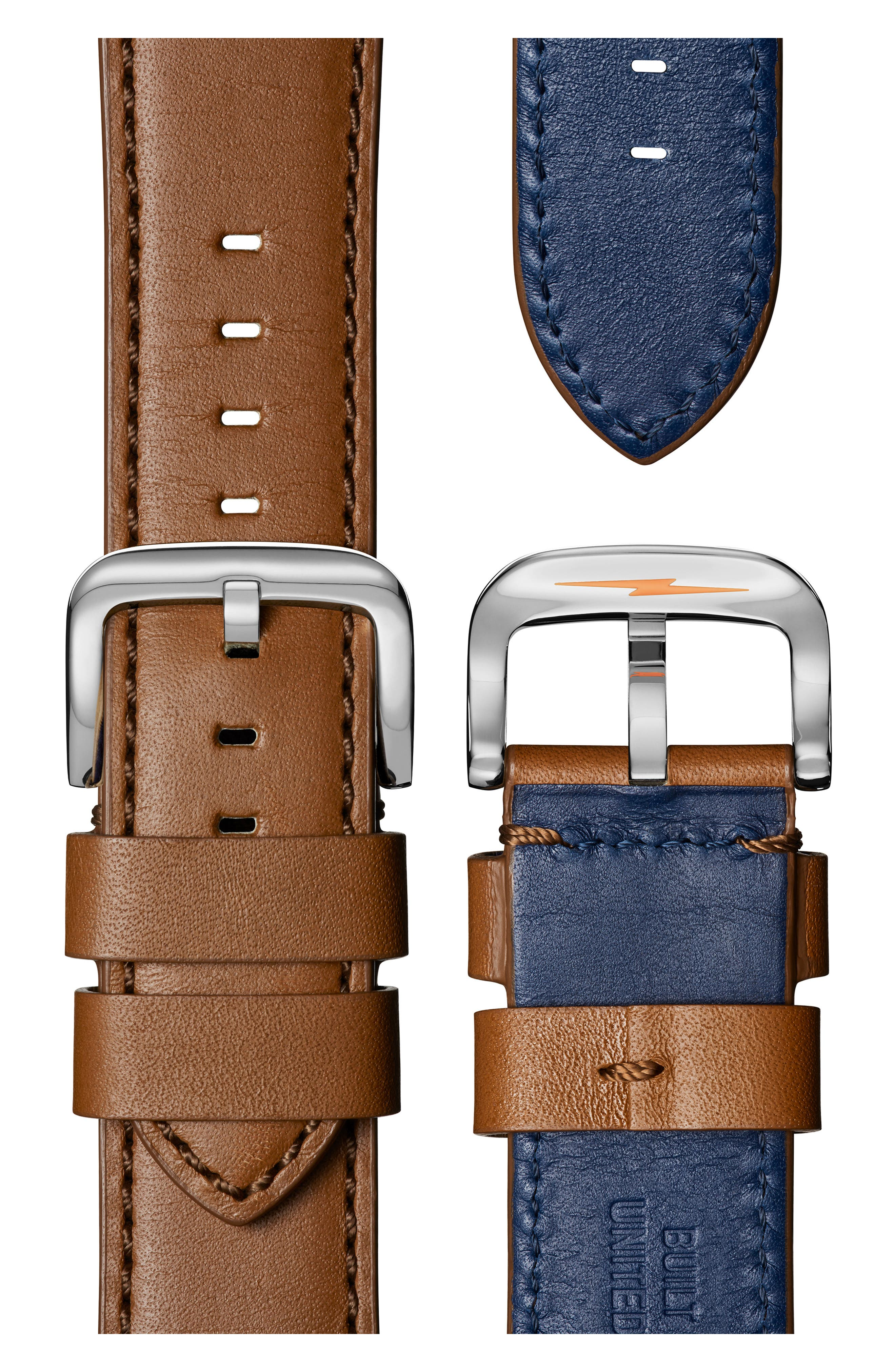 'The Runwell' Leather Strap Watch, 47mm,                             Alternate thumbnail 4, color,                             TAN/ COLLEGIATE BLUE/ SILVER
