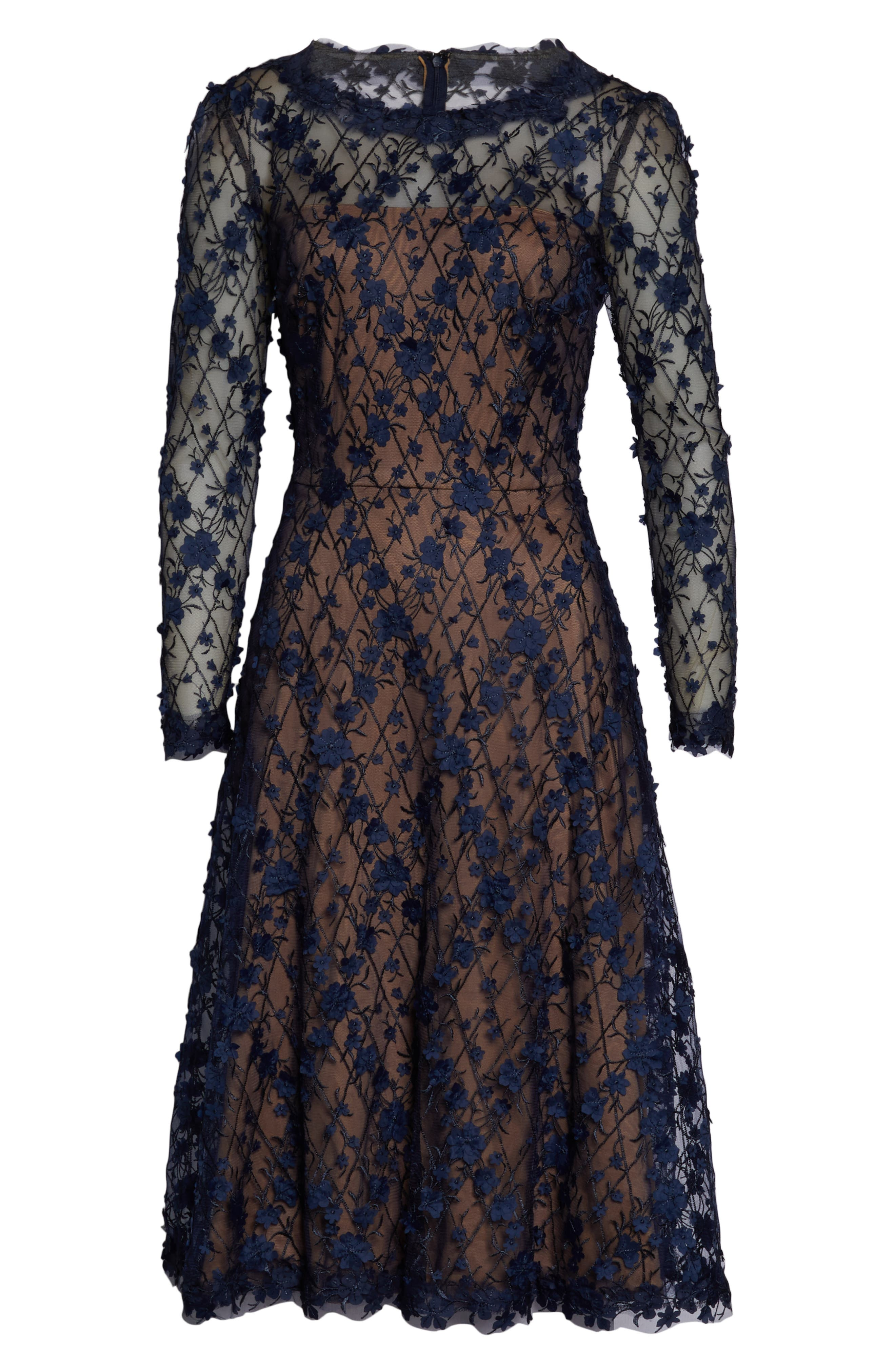 3D Flowers Lace Dress,                             Alternate thumbnail 6, color,                             MIDNIGHT/ NUDE