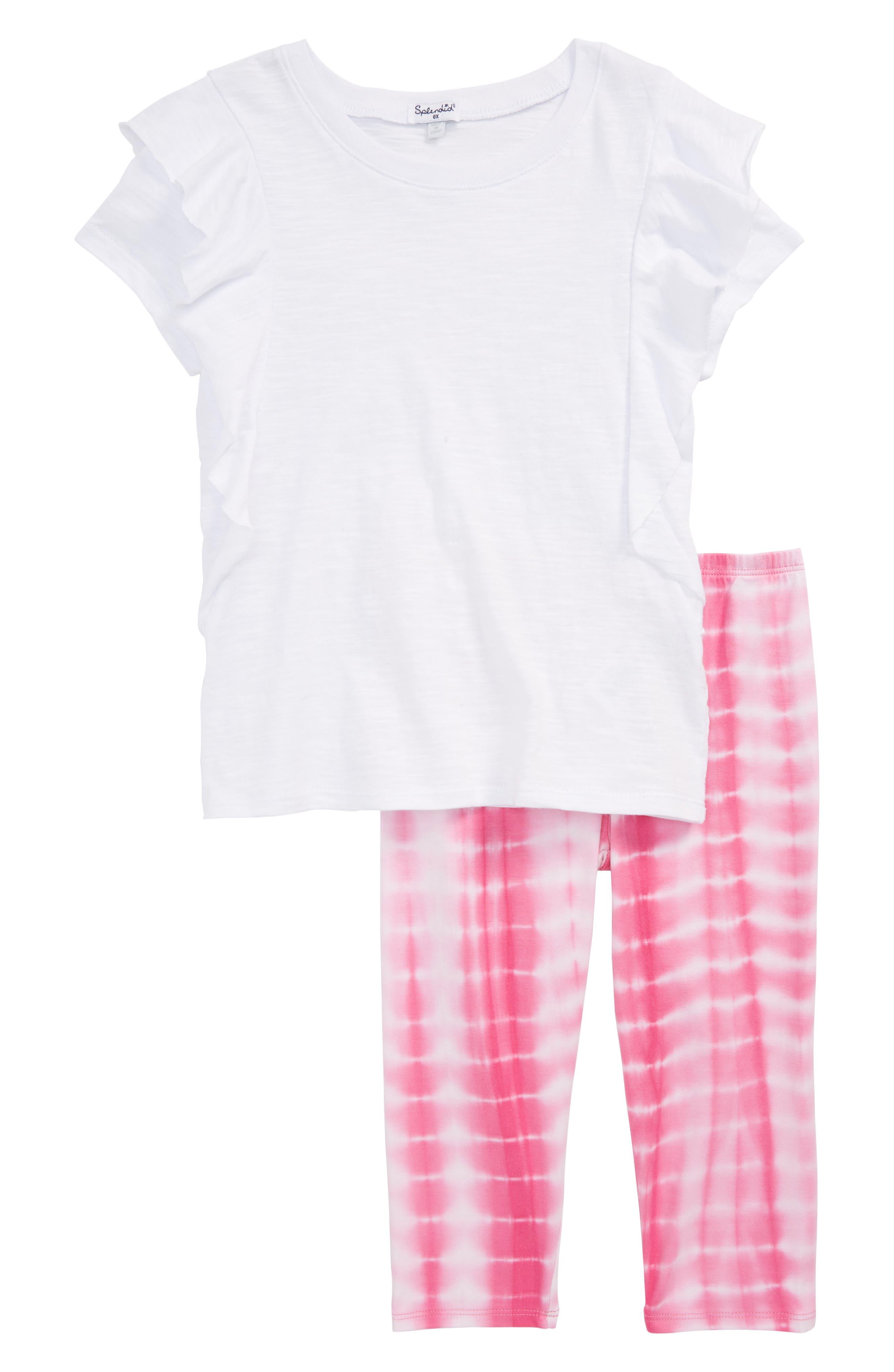 Slub Tee & Tie Dye Leggings Set,                             Main thumbnail 1, color,                             100