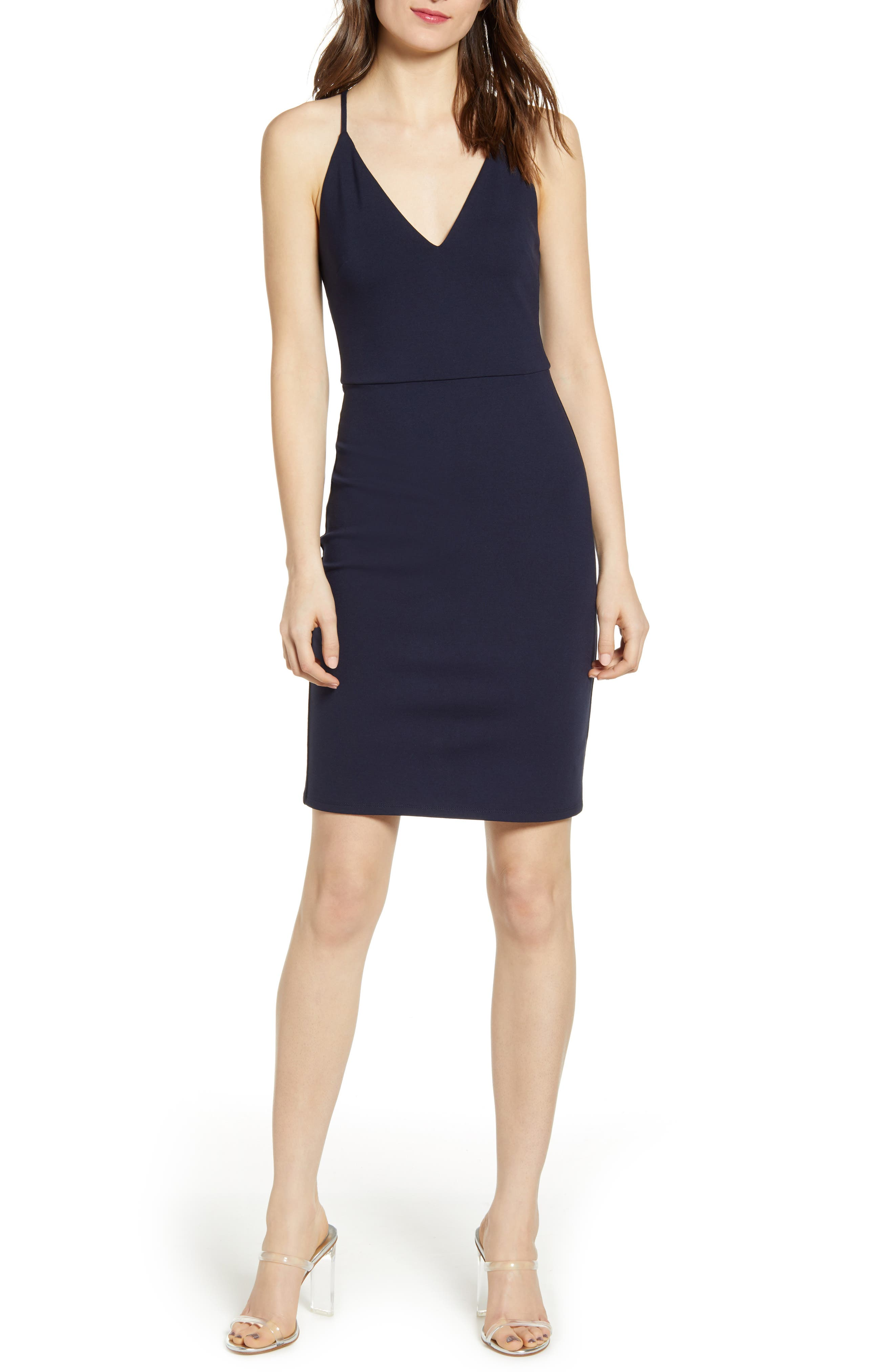 Socialite V-Neck Crossback Sheath Dress, Blue