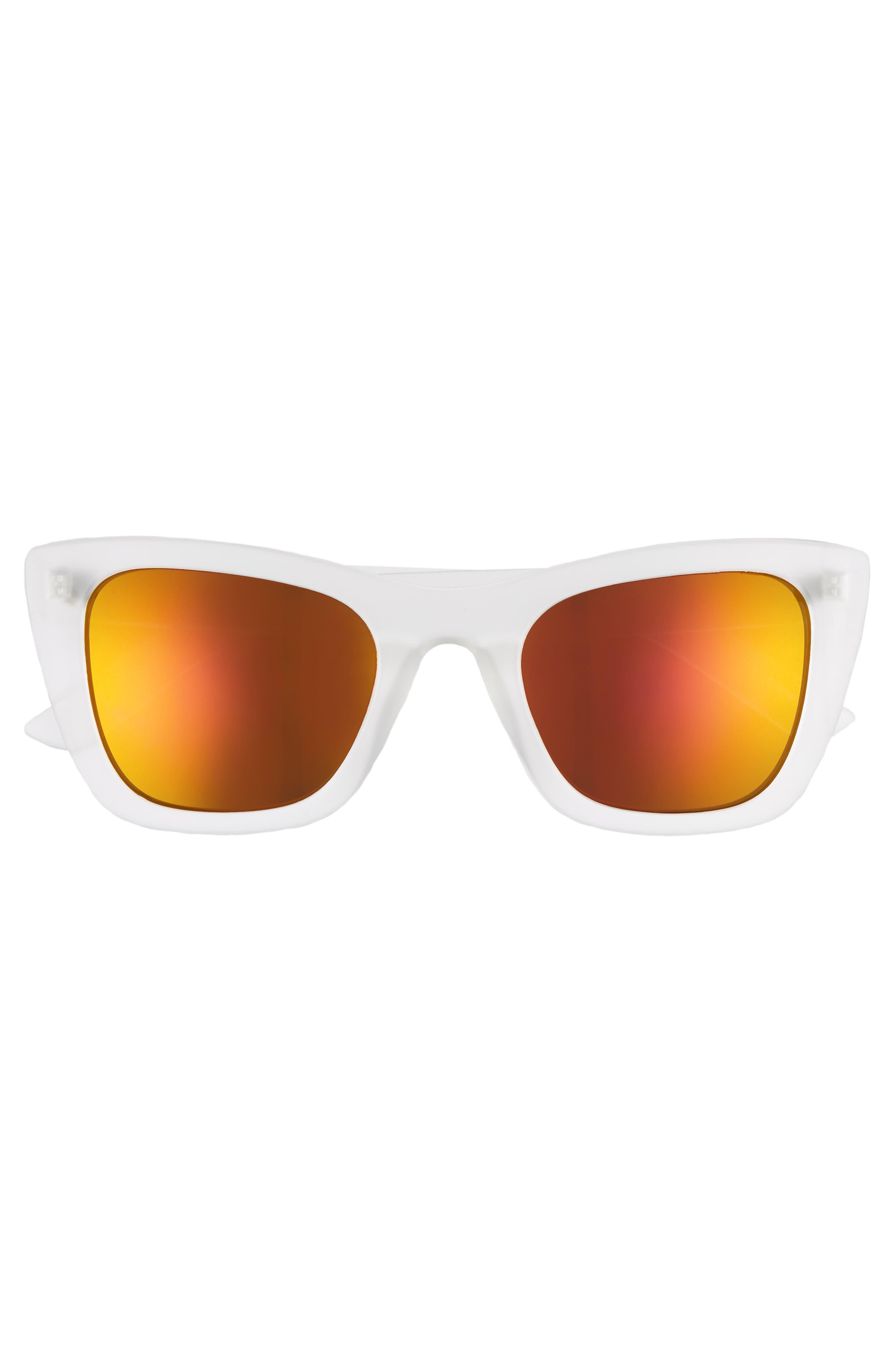 51mm Translucent Square Sunglasses,                             Alternate thumbnail 3, color,                             100