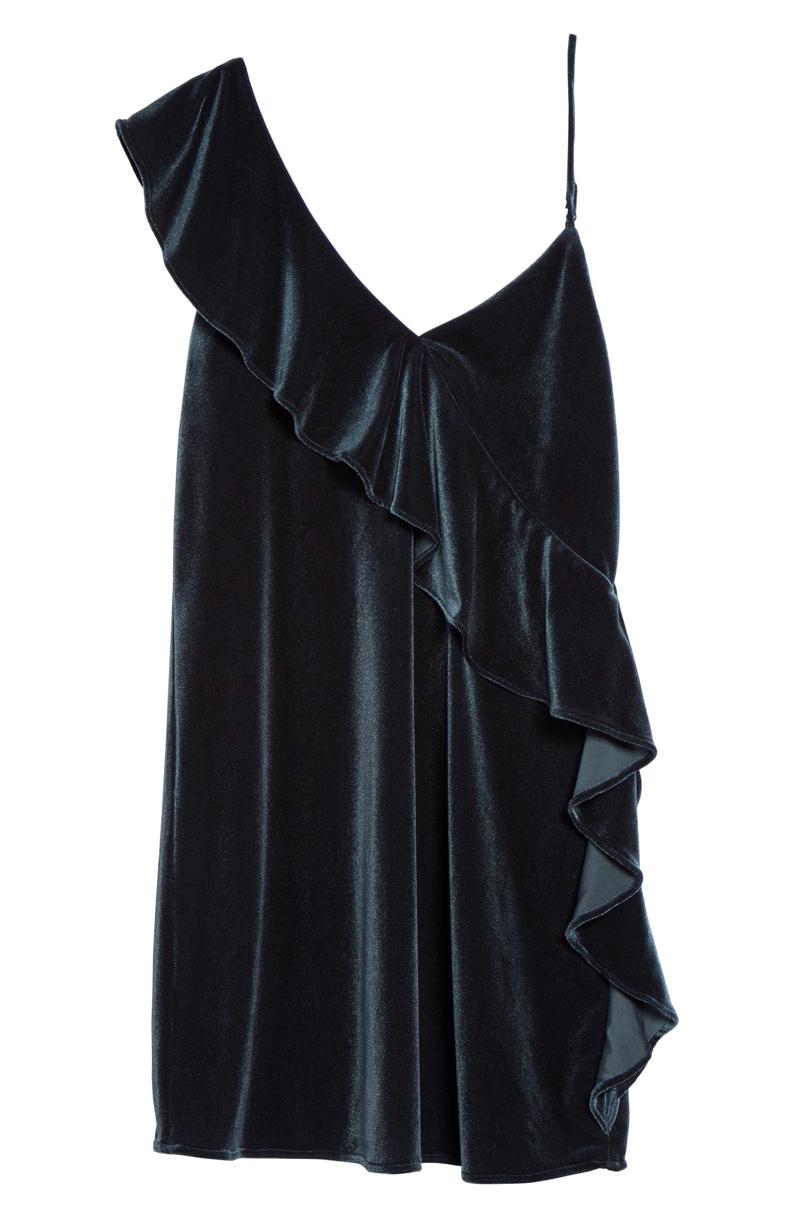 Ruffle Velvet Dress,                             Alternate thumbnail 6, color,