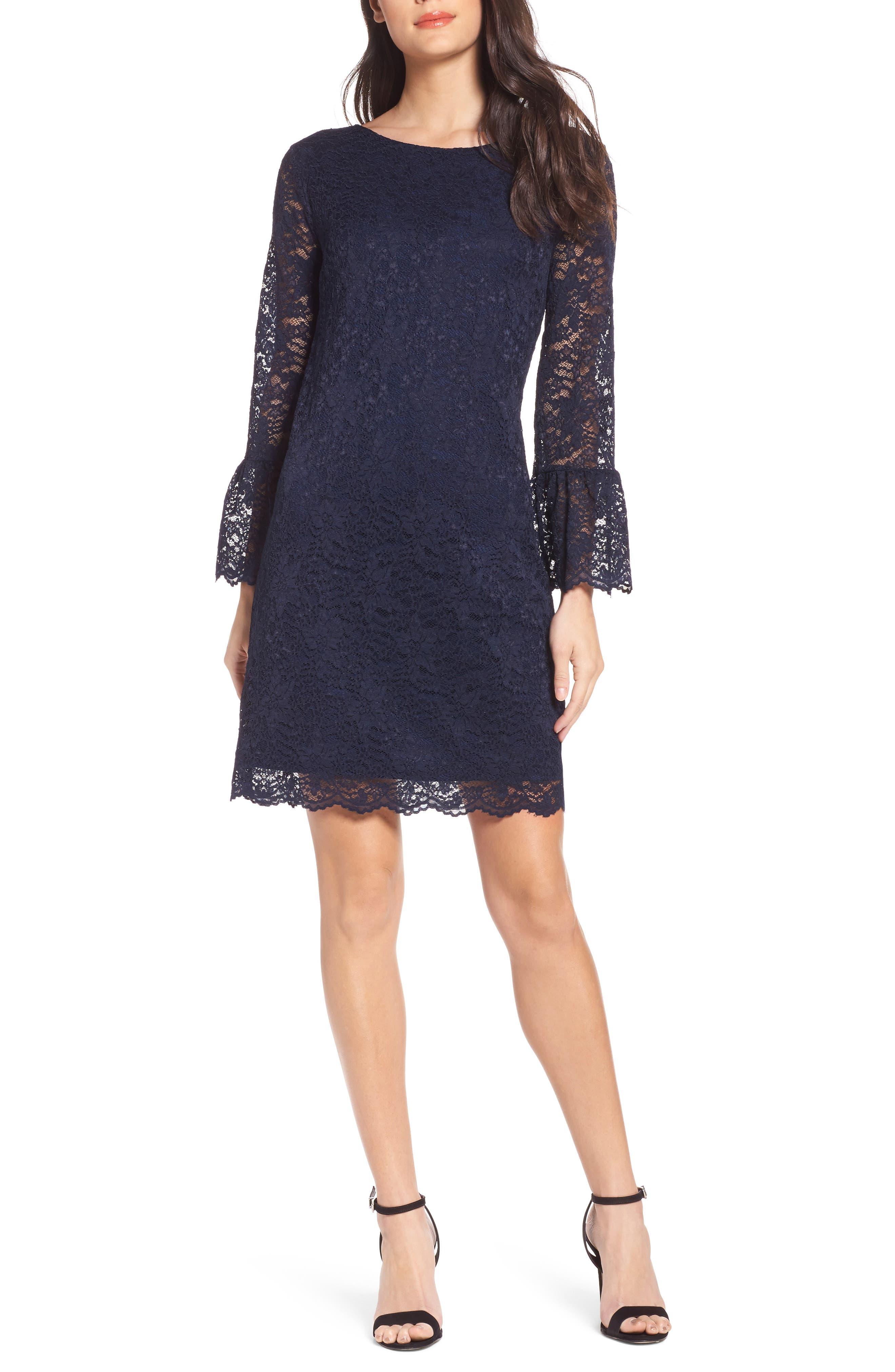 Lace Bell Sleeve Shift Dress,                             Main thumbnail 1, color,                             410