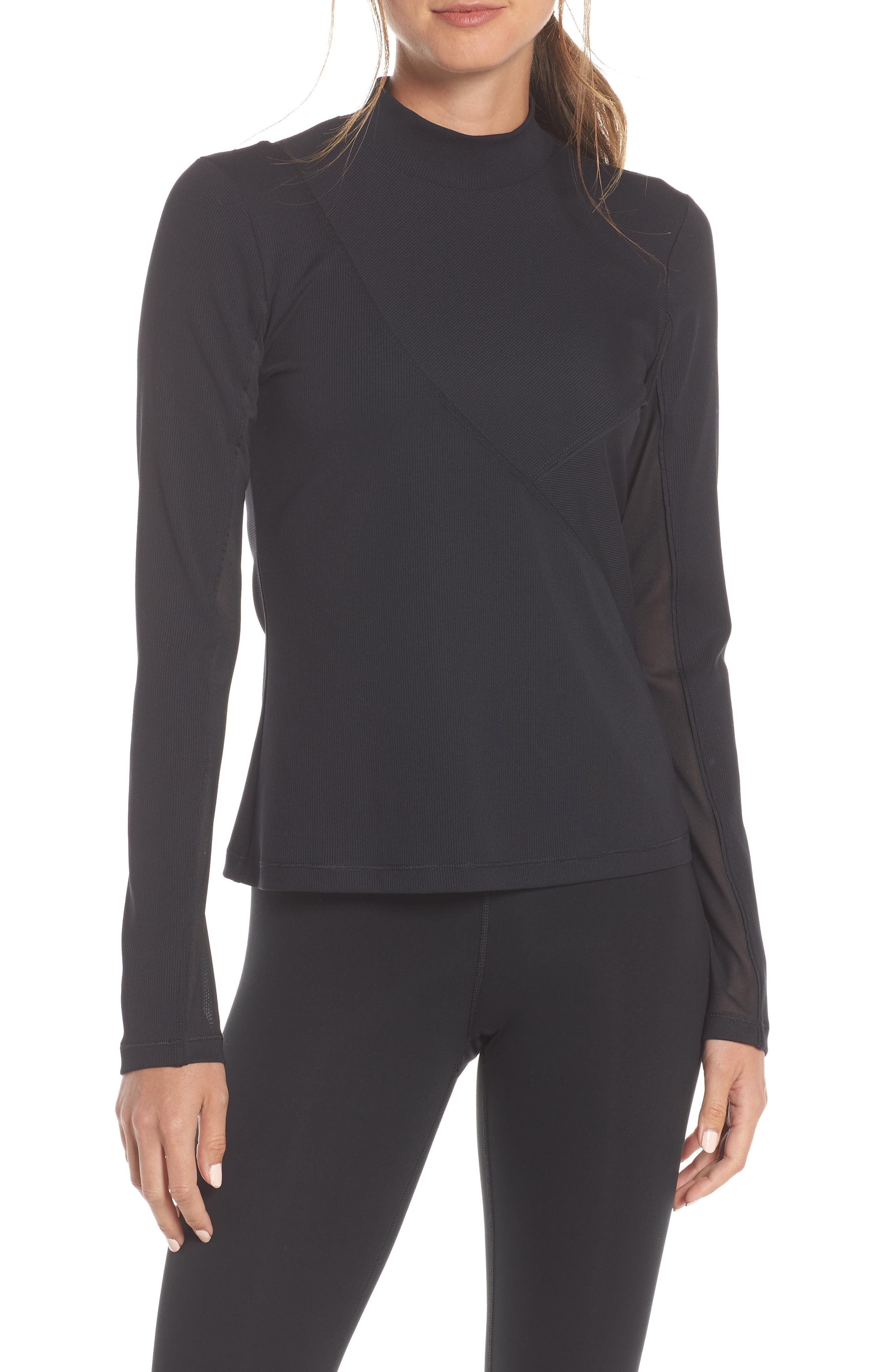 The Nike Pro HyperCool Women's Long Sleeve Ribbed Top,                             Main thumbnail 1, color,                             BLACK/ CLEAR
