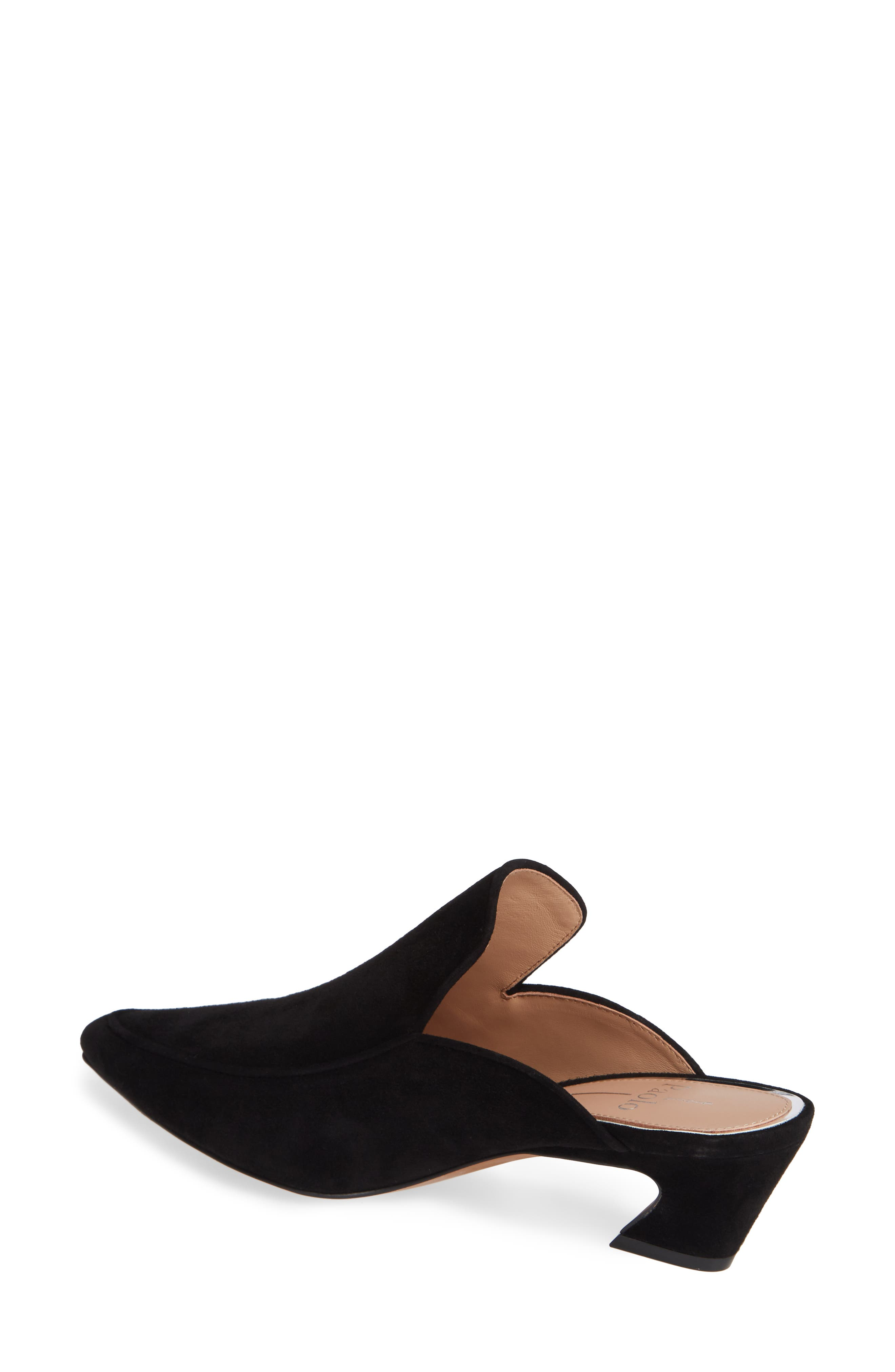 Gina Pointy Toe Mule,                             Alternate thumbnail 2, color,                             BLACK SUEDE
