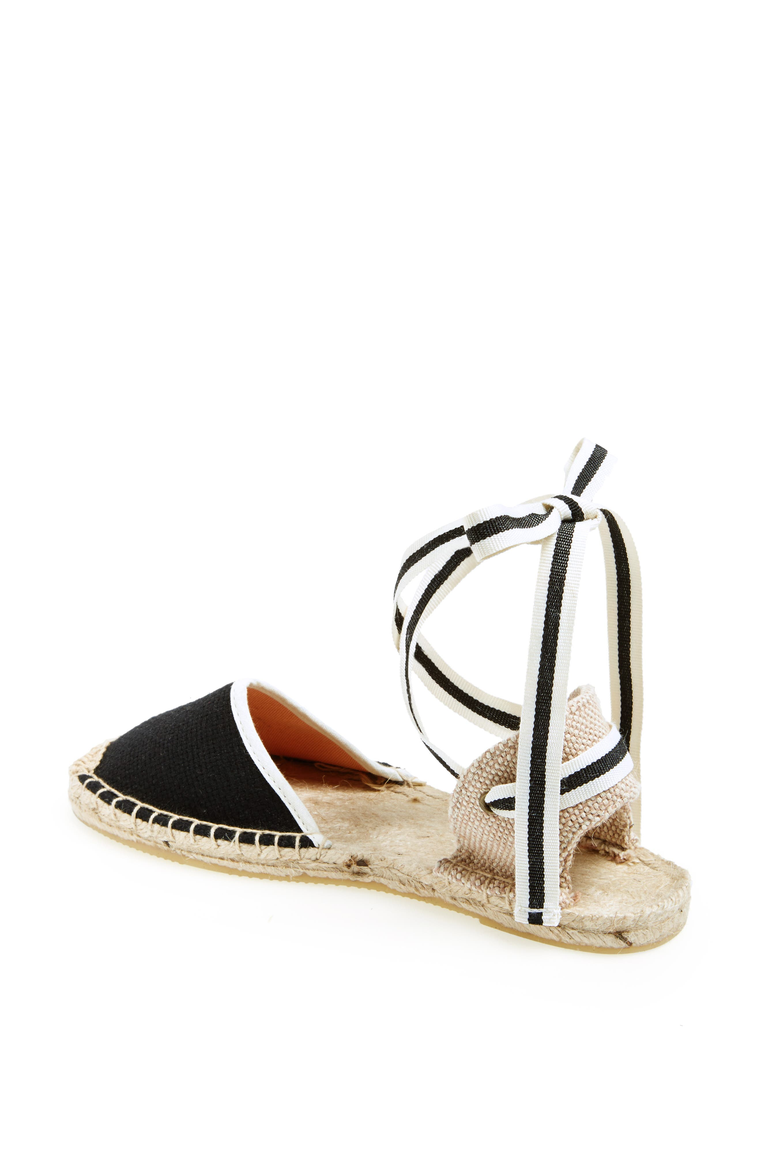 Lace-Up Espadrille Sandal,                         Main,                         color, BLACK LINEN