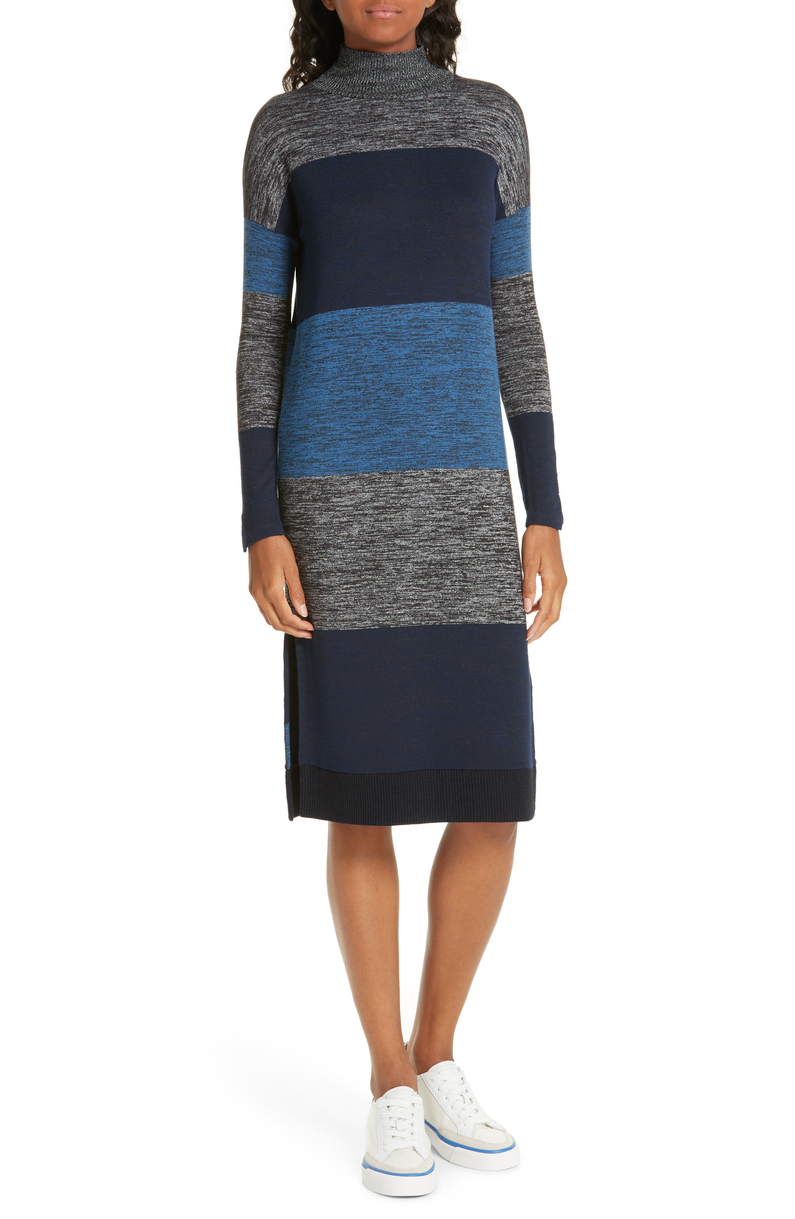 rag & bone Bowery Stripe Turtleneck Sweater Dress,                             Main thumbnail 1, color,                             BLUE STRIPE