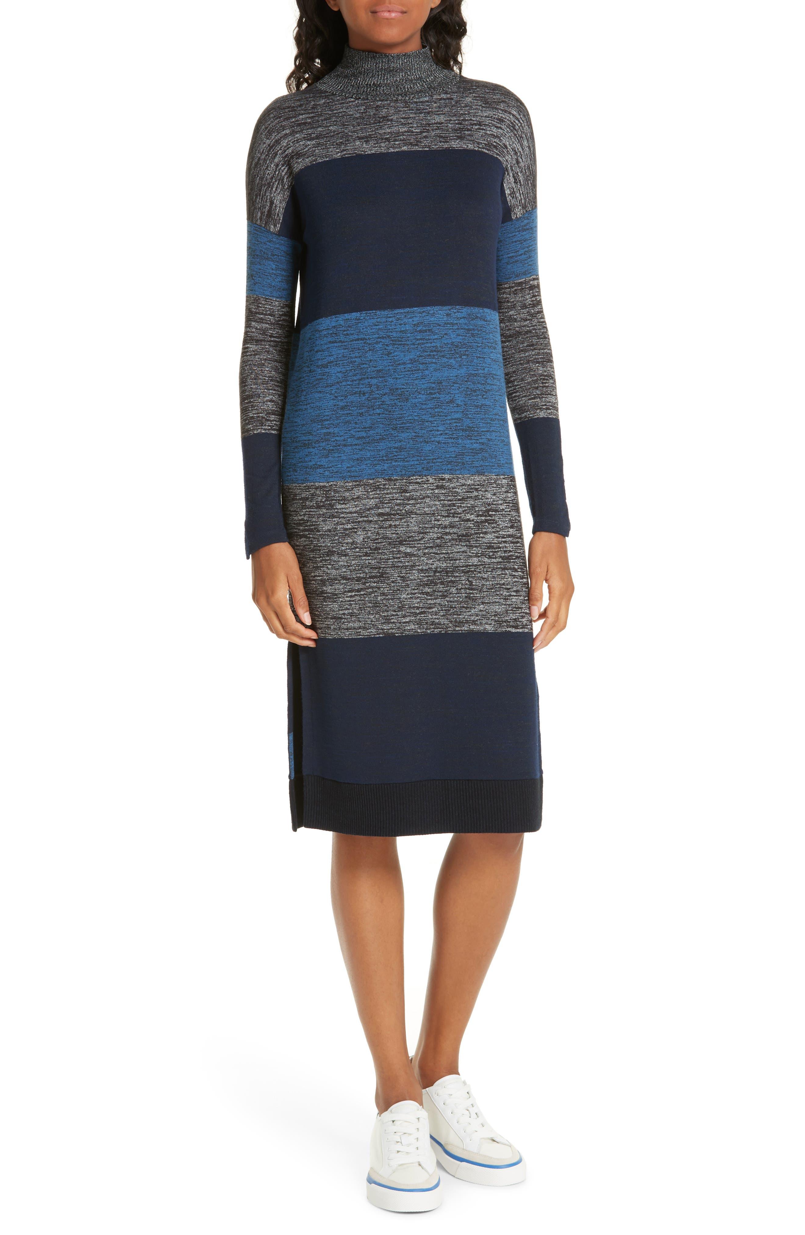 Bowery Striped Turtleneck Sweaterdress in Blue Stripe