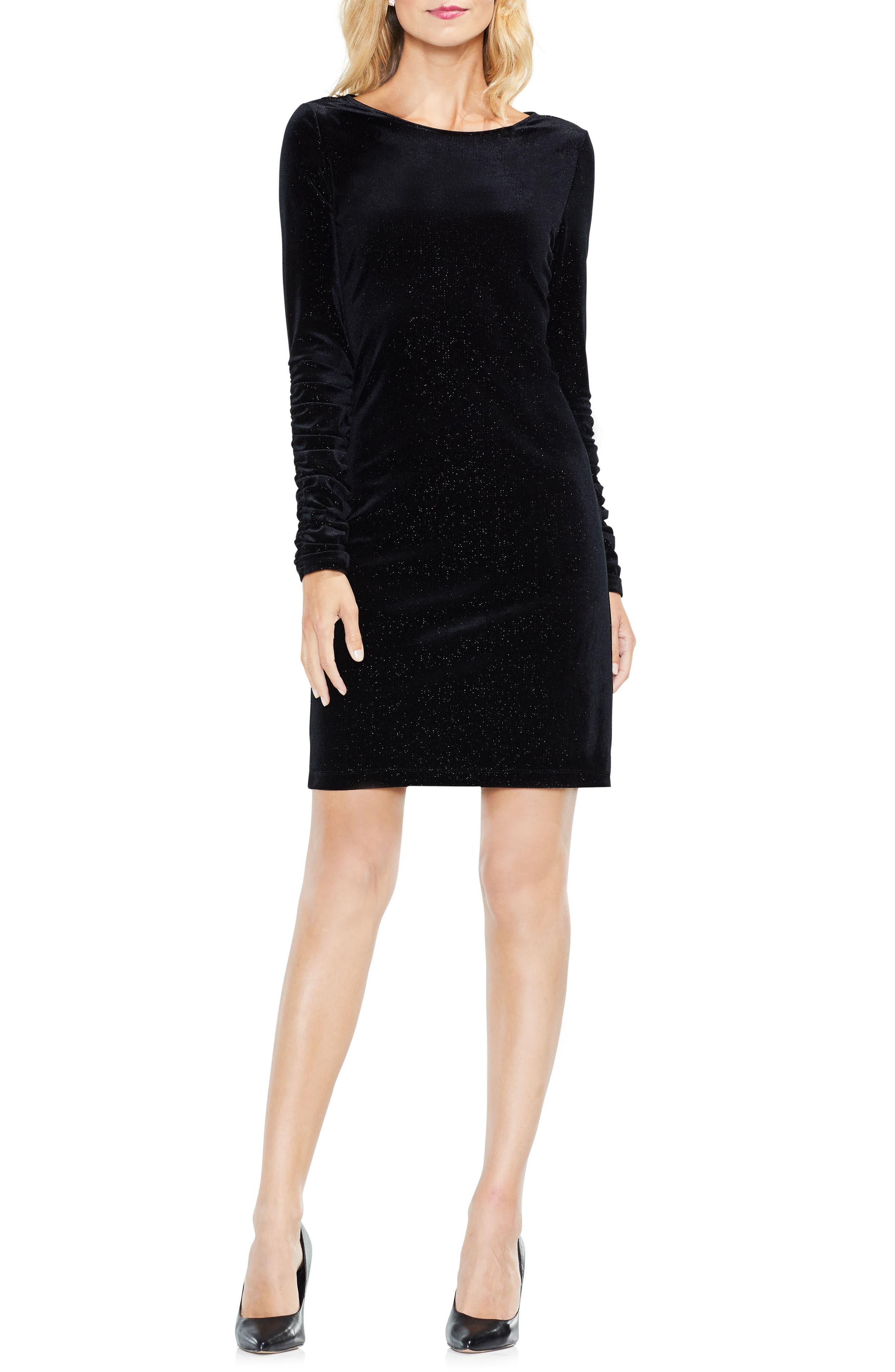 Ruched Sleeve Sparkle Velvet Dress,                             Alternate thumbnail 3, color,                             006