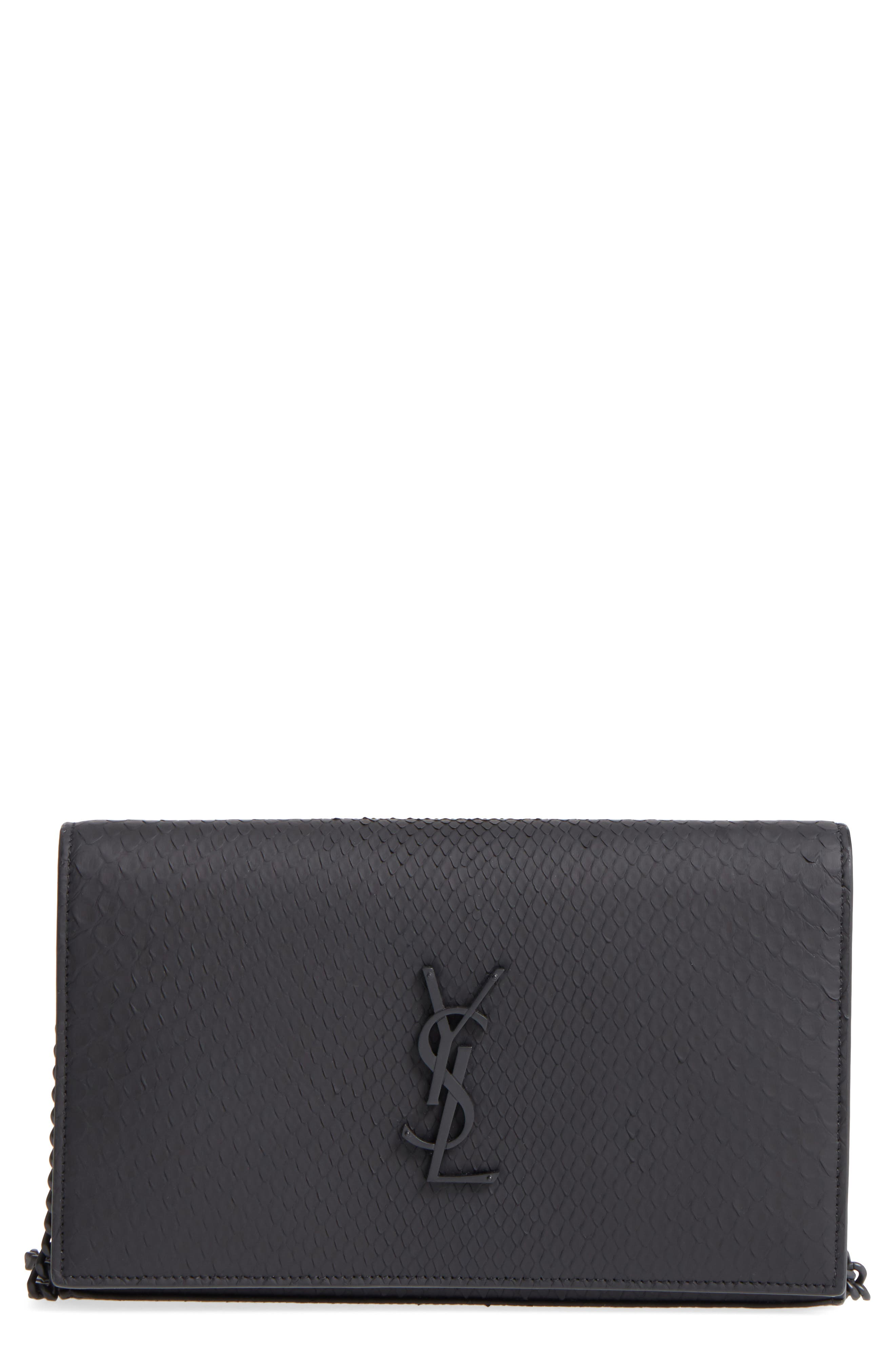 Monogram Genuine Python Wallet on a Chain,                             Main thumbnail 1, color,                             NOIR