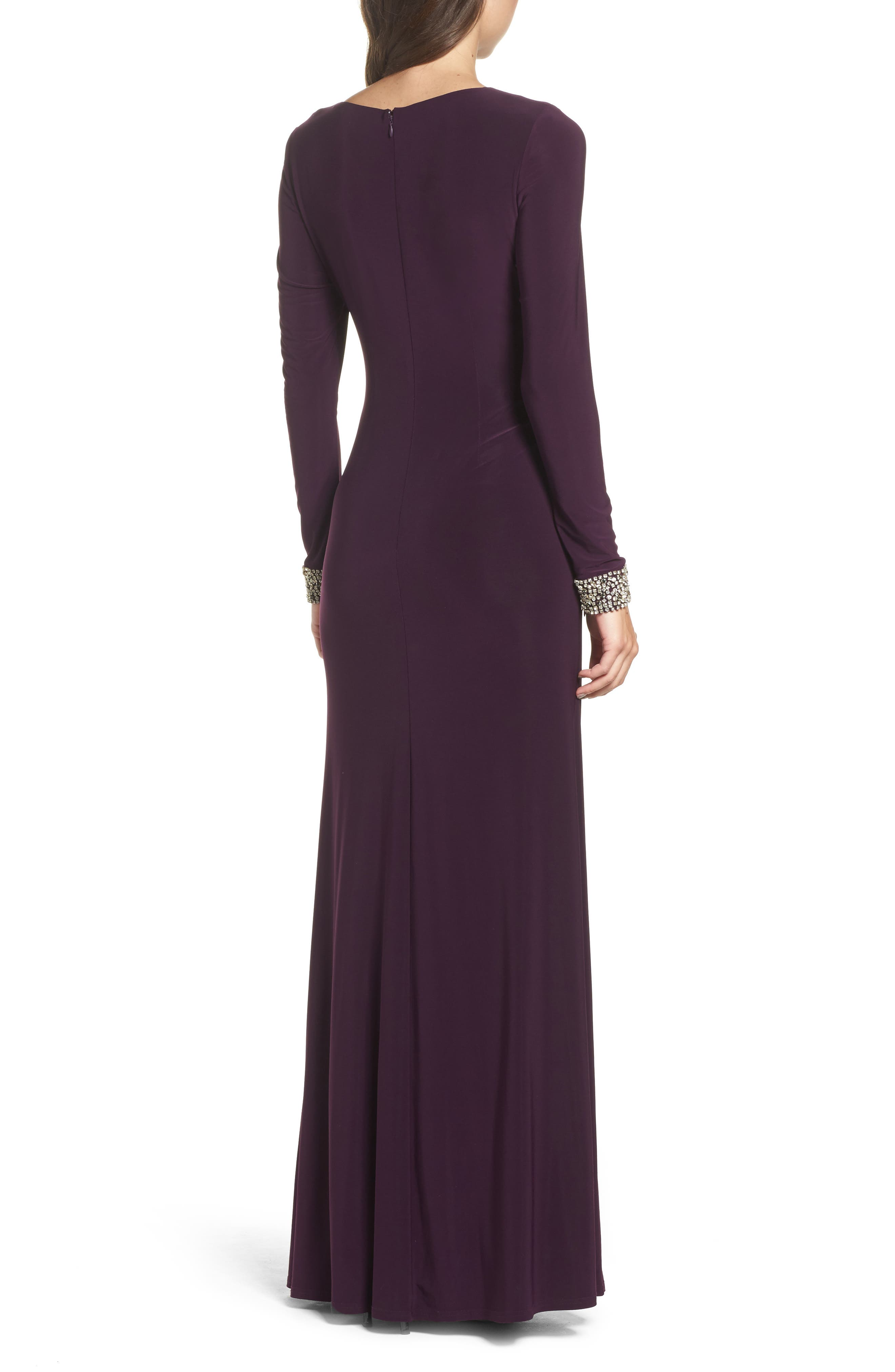 Beaded Cuff Ruched Jersey Gown,                             Alternate thumbnail 3, color,                             505