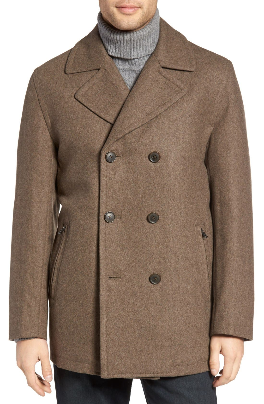 Wool Blend Double Breasted Peacoat,                             Alternate thumbnail 57, color,