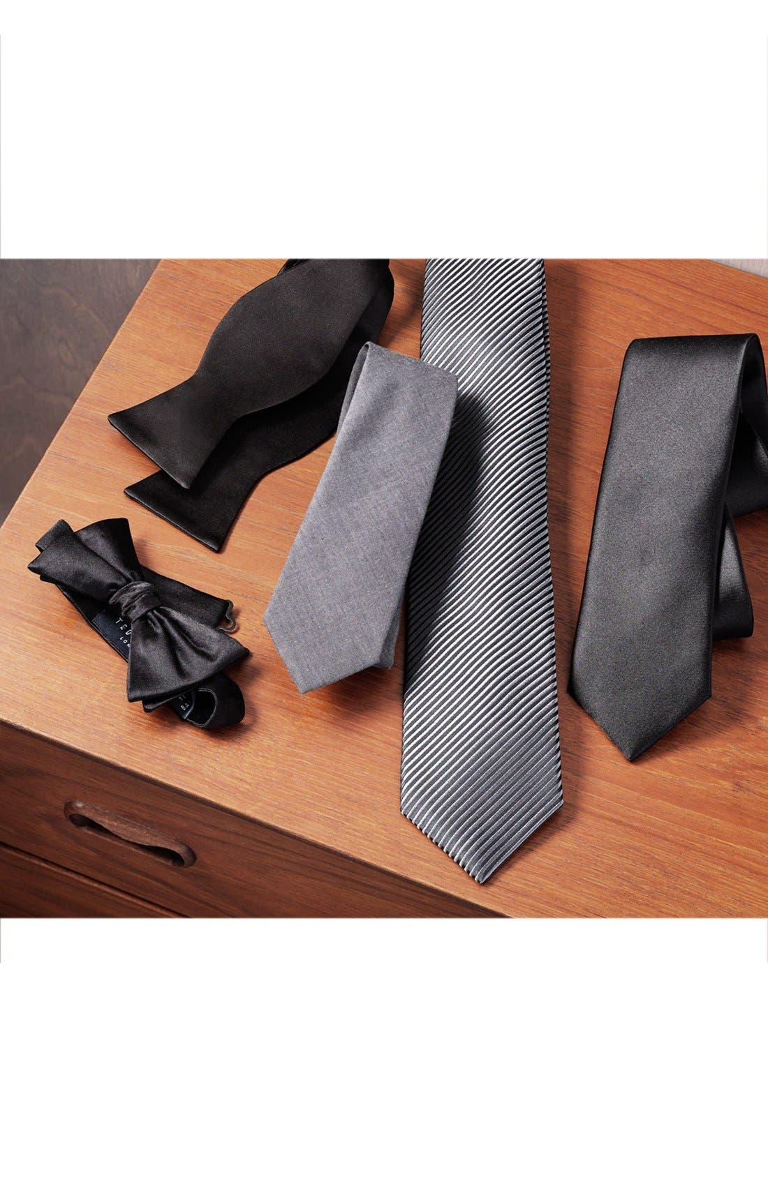 Silk Bow Tie,                             Alternate thumbnail 3, color,                             BLACK
