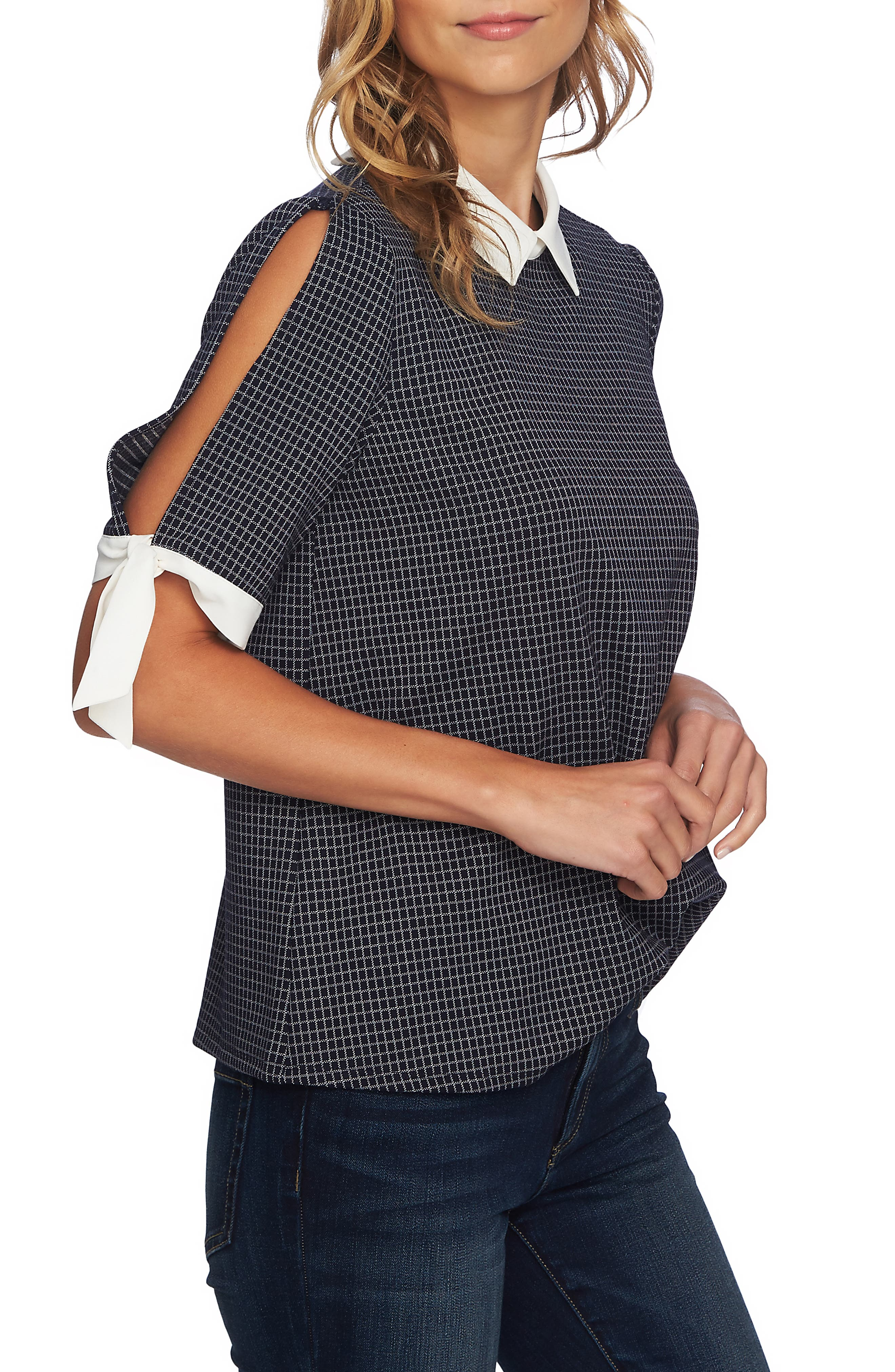 Windowpane Tie Sleeve Collared Blouse,                             Alternate thumbnail 3, color,                             CAVIAR