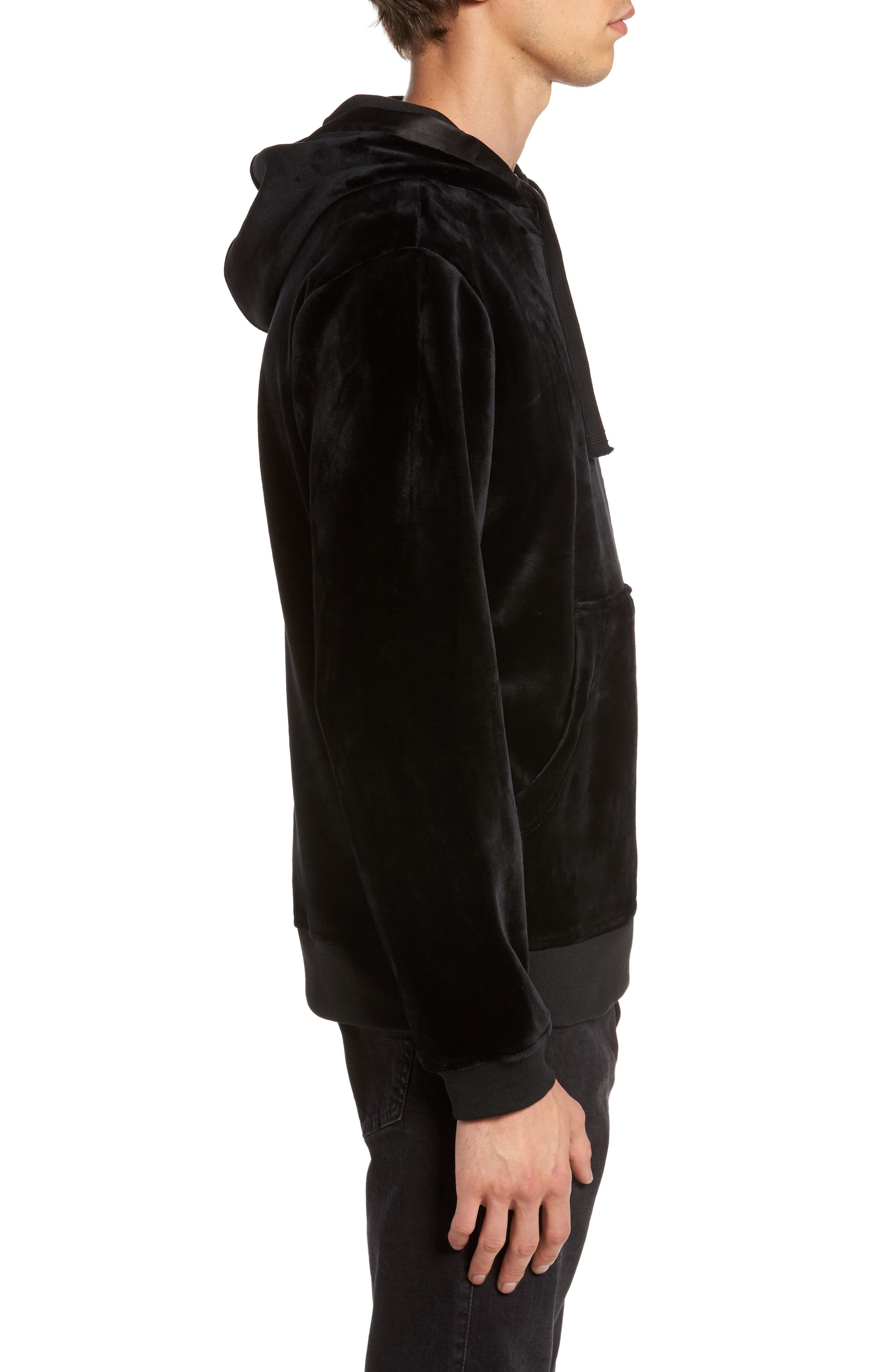 Fuzzy Pullover Hoodie,                             Alternate thumbnail 3, color,                             001