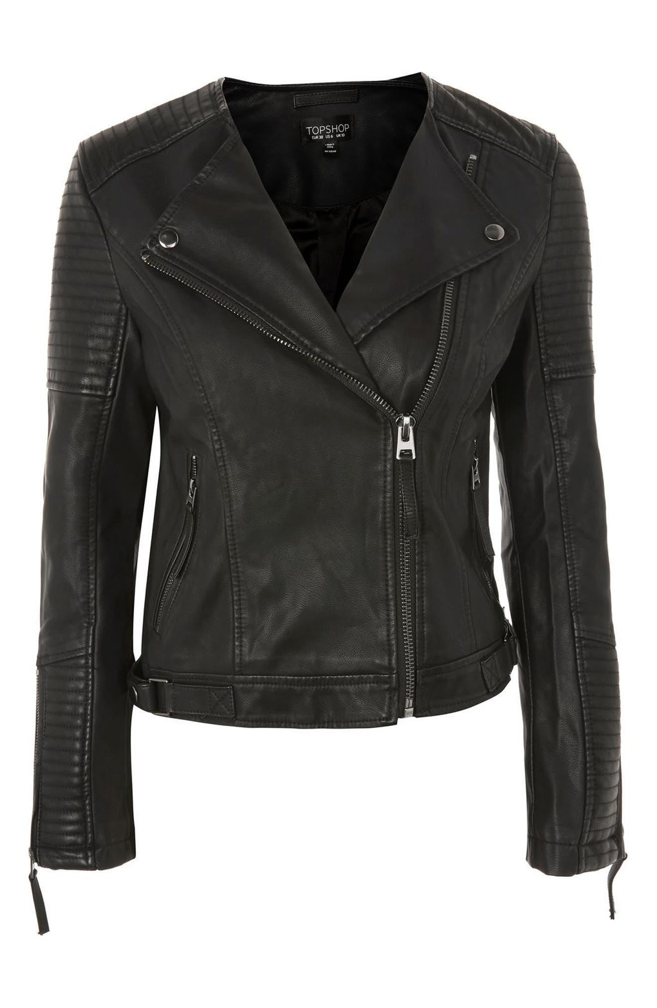 Luna Faux Leather Biker Jacket,                             Alternate thumbnail 8, color,