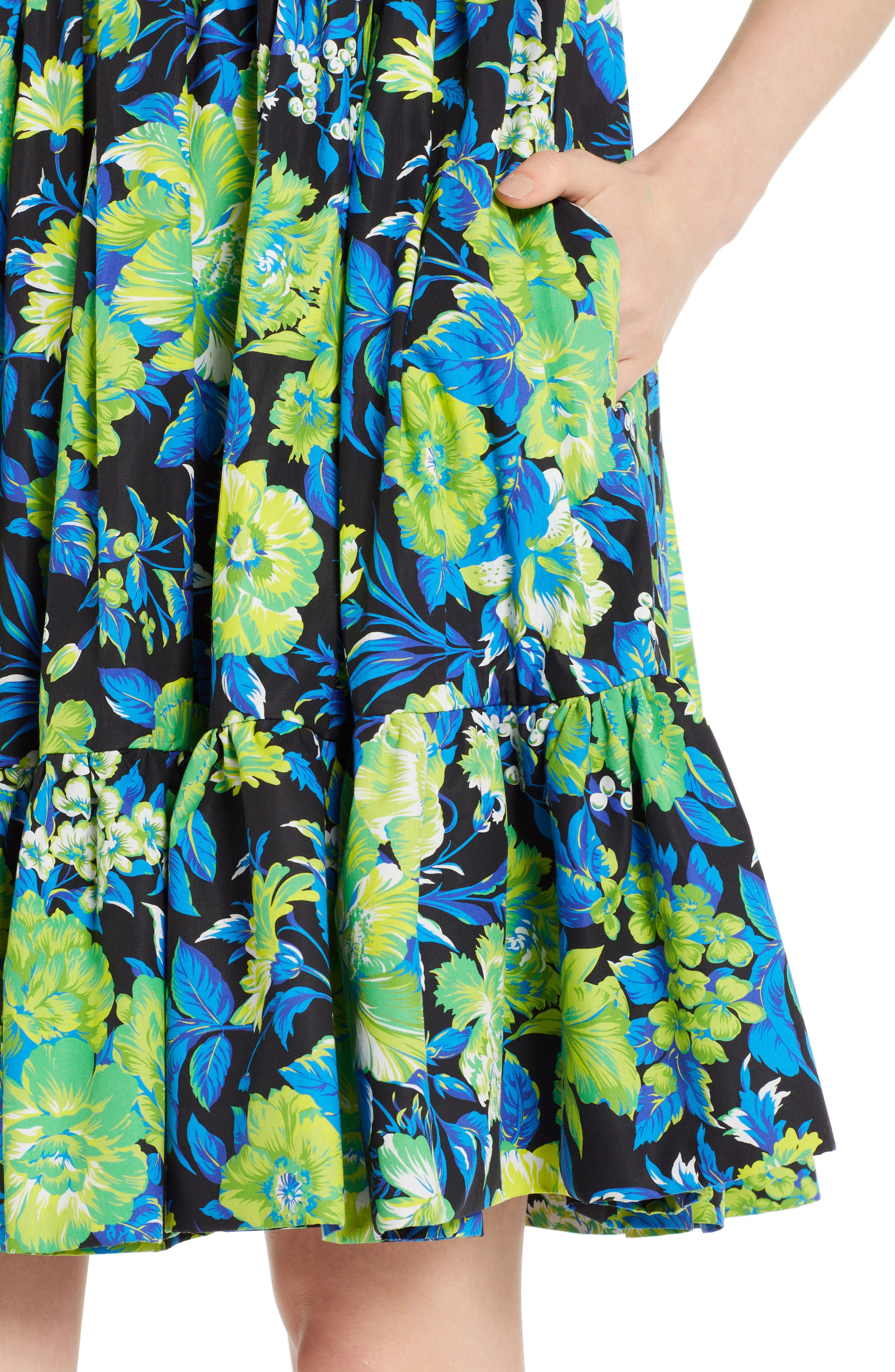 Floral Print A-Line Dress,                             Alternate thumbnail 4, color,                             009
