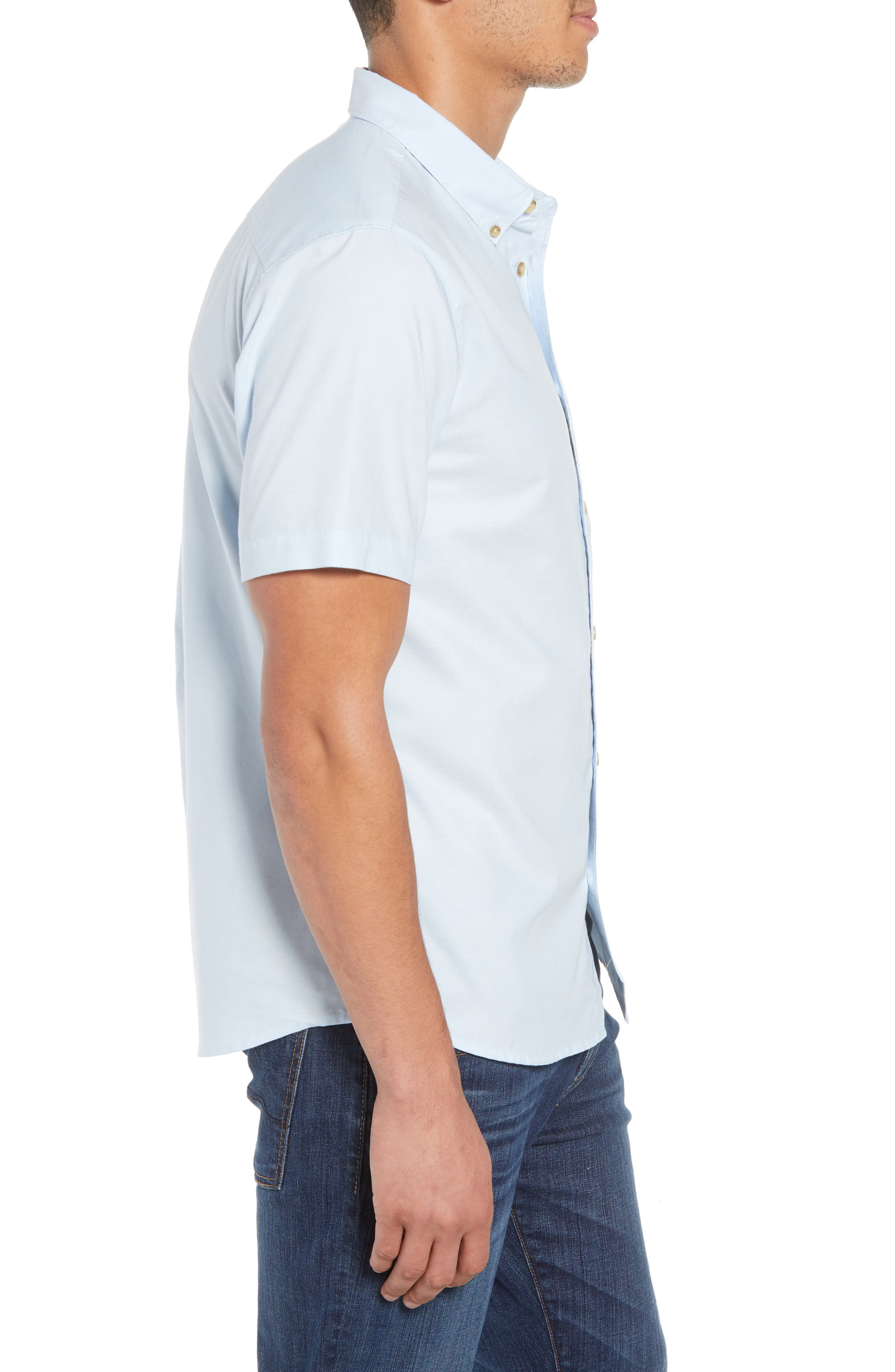 Banks Woven Shirt,                             Alternate thumbnail 3, color,                             LIGHT BLUE