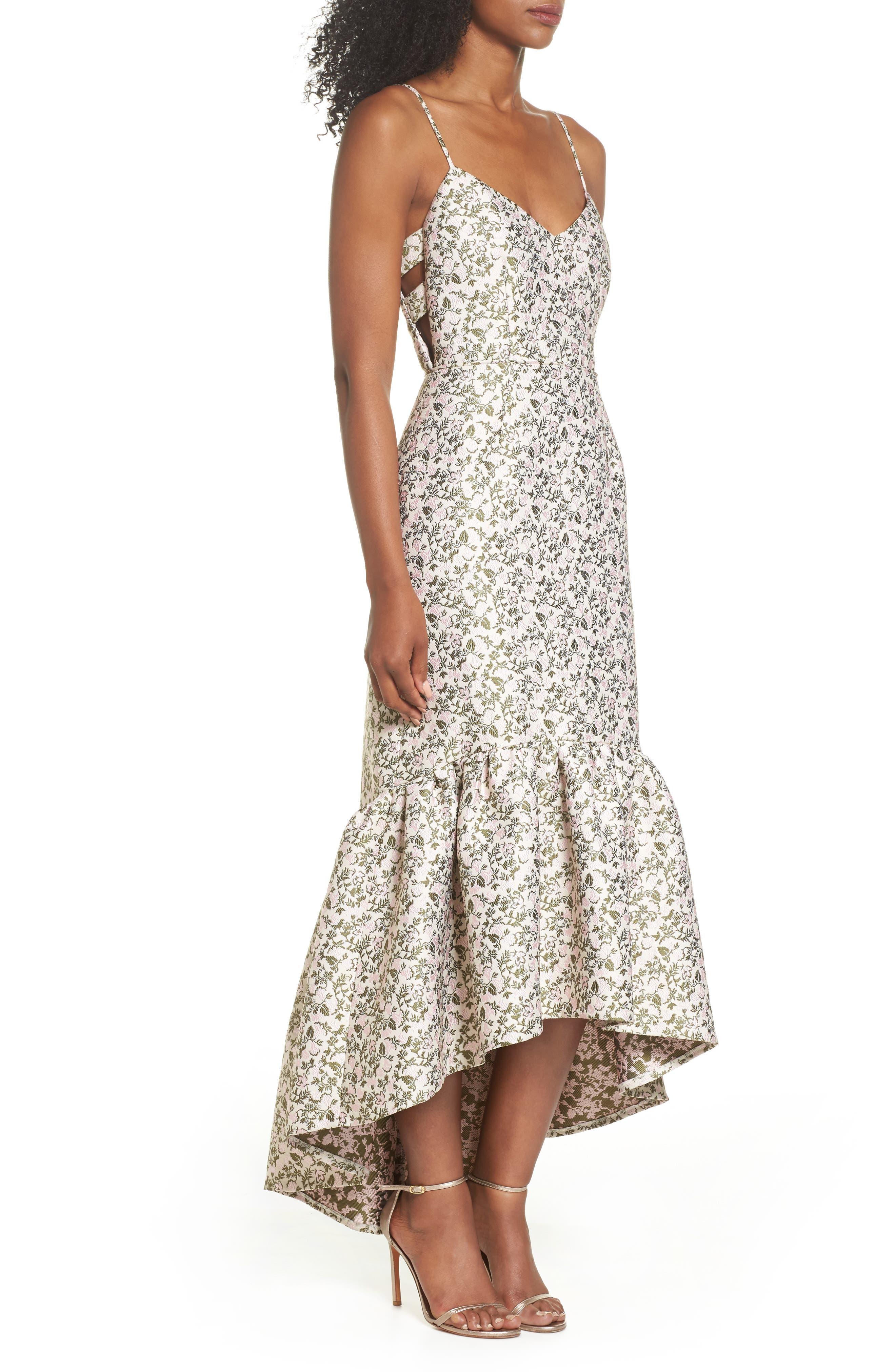 Jacquard High/Low Midi Dress,                             Alternate thumbnail 3, color,