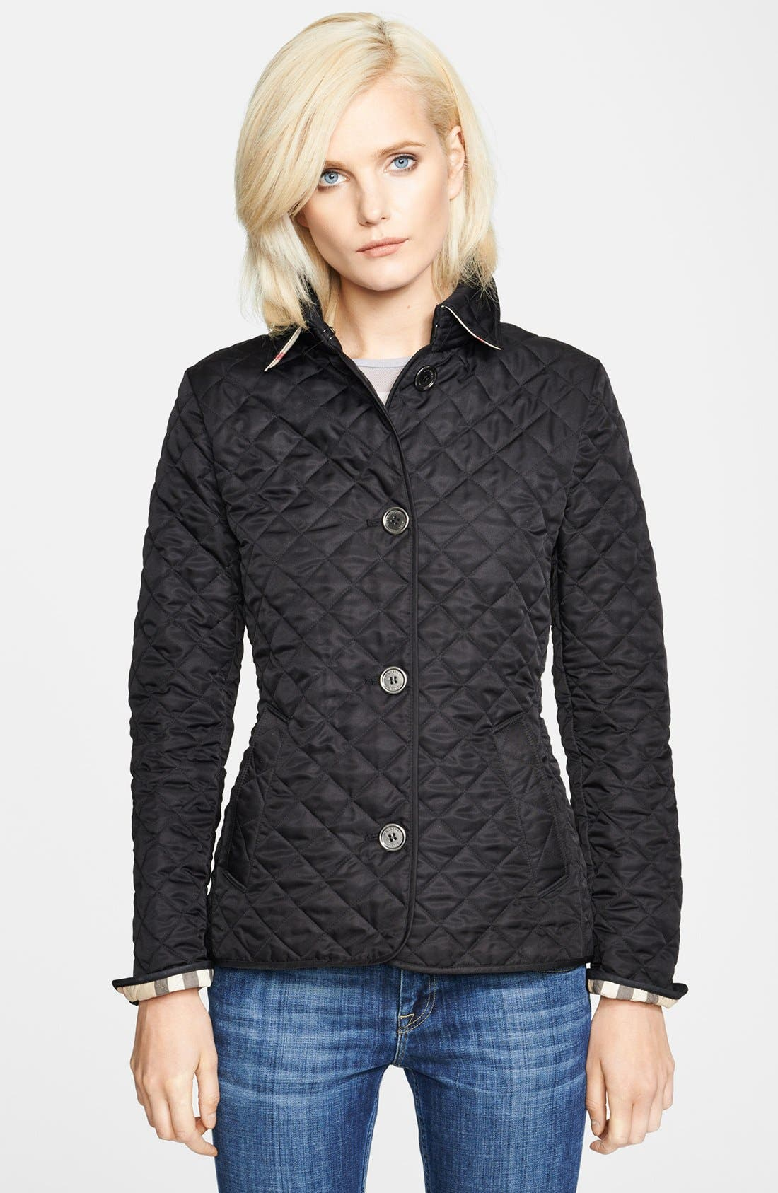 'Copford' Quilted Jacket,                             Alternate thumbnail 5, color,                             001