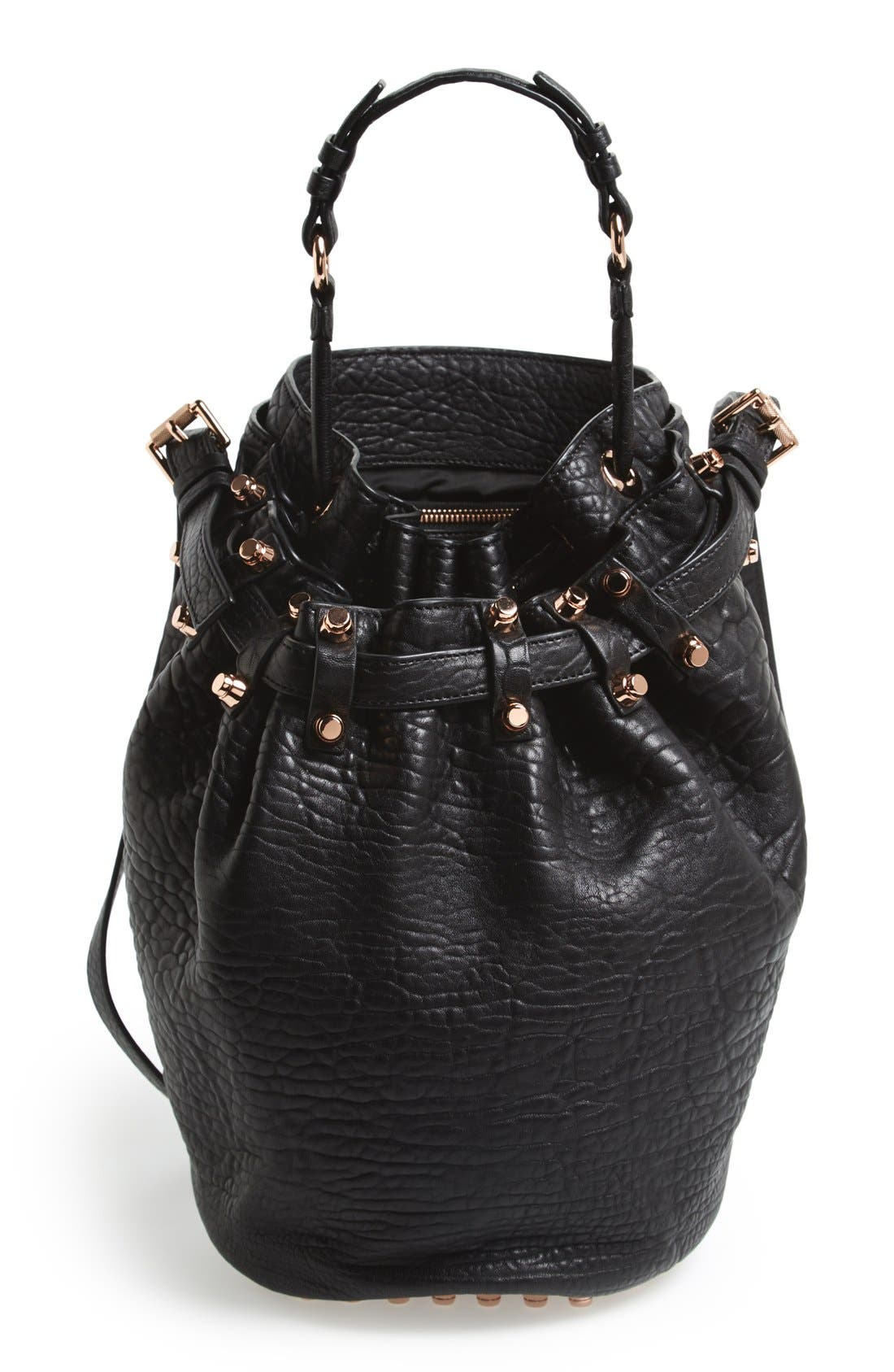 'Diego - Rose Gold' Leather Bucket Bag,                             Main thumbnail 1, color,                             001