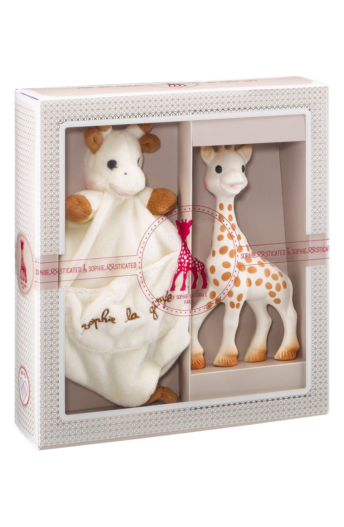 SOPHIE LA GIRAFE,                             'Sophiesticated' Plush Toy & Teething Toy,                             Main thumbnail 1, color,                             CREAM