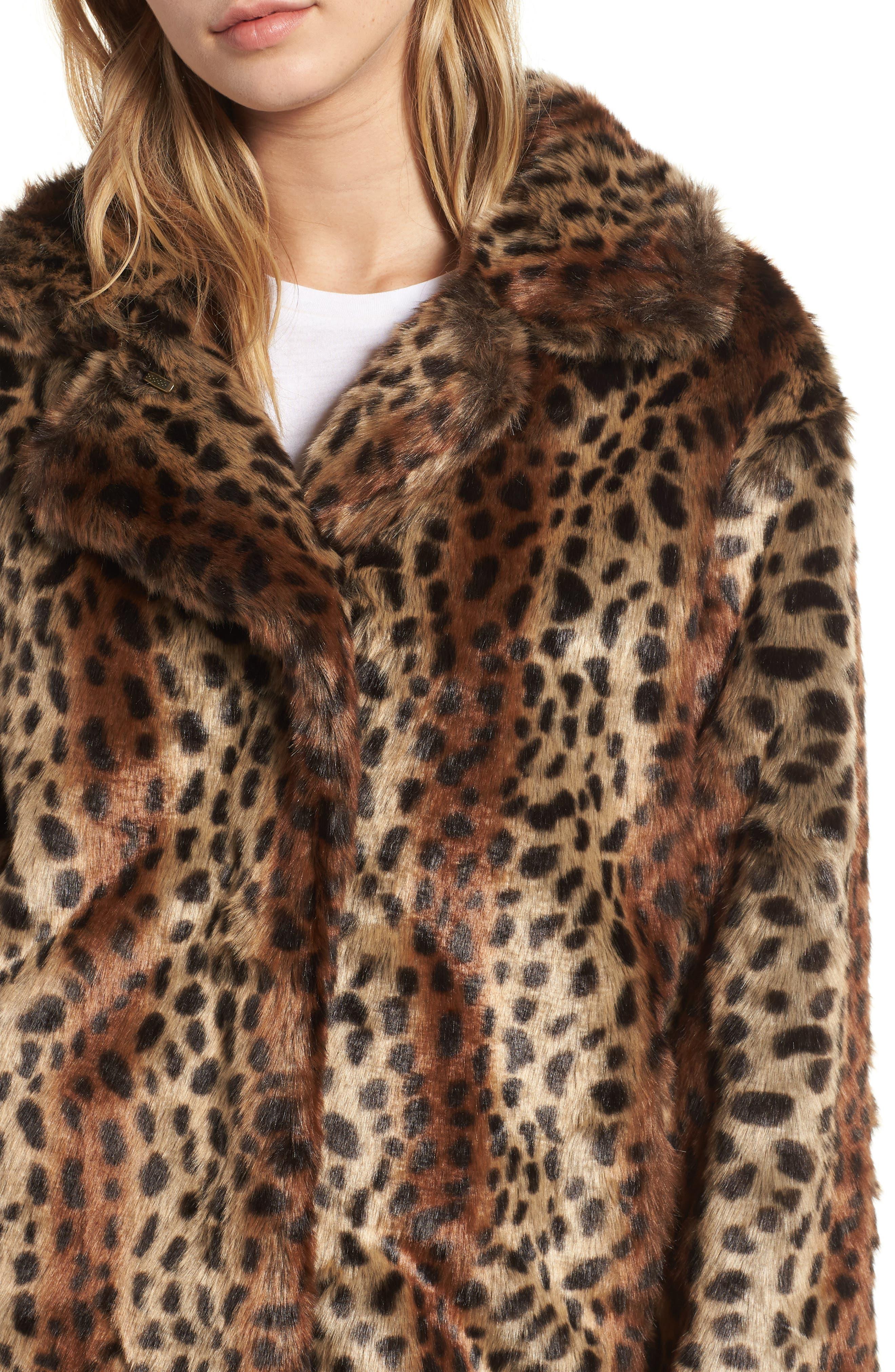 Mika Leopard Faux Fur Jacket,                             Alternate thumbnail 4, color,                             200