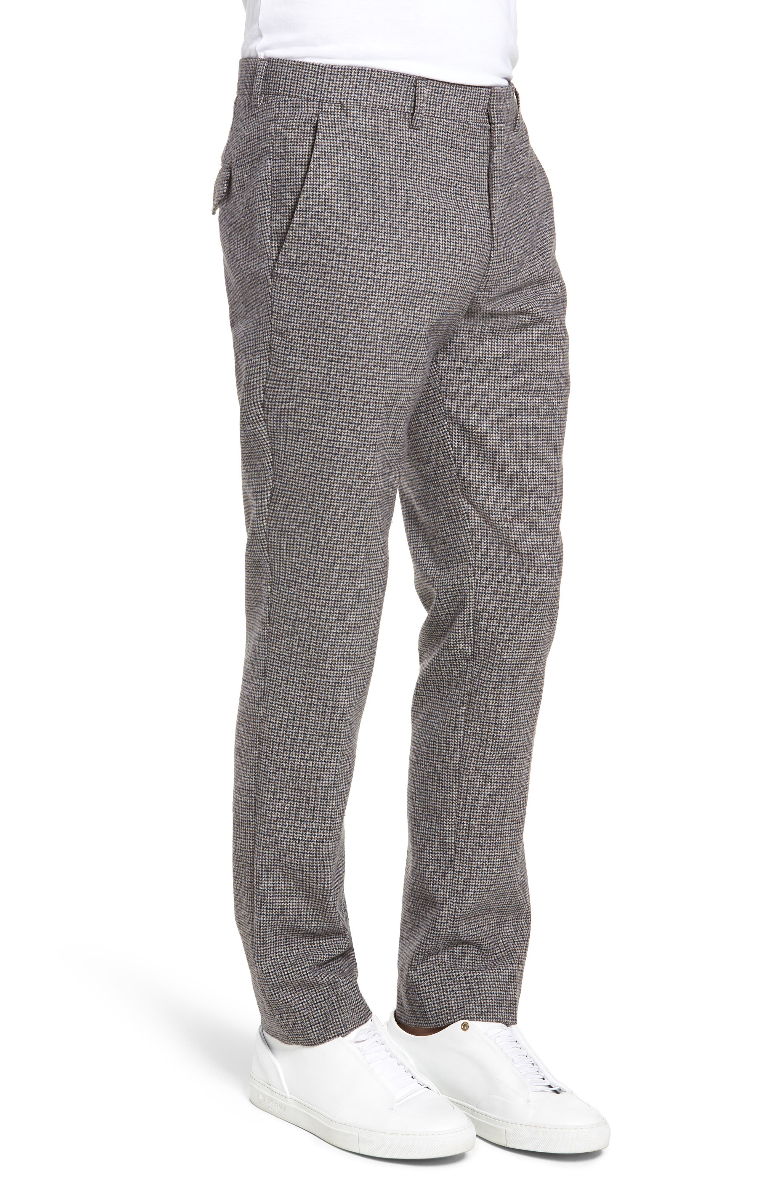 Houndstooth Trousers,                             Alternate thumbnail 3, color,                             DARK GREY