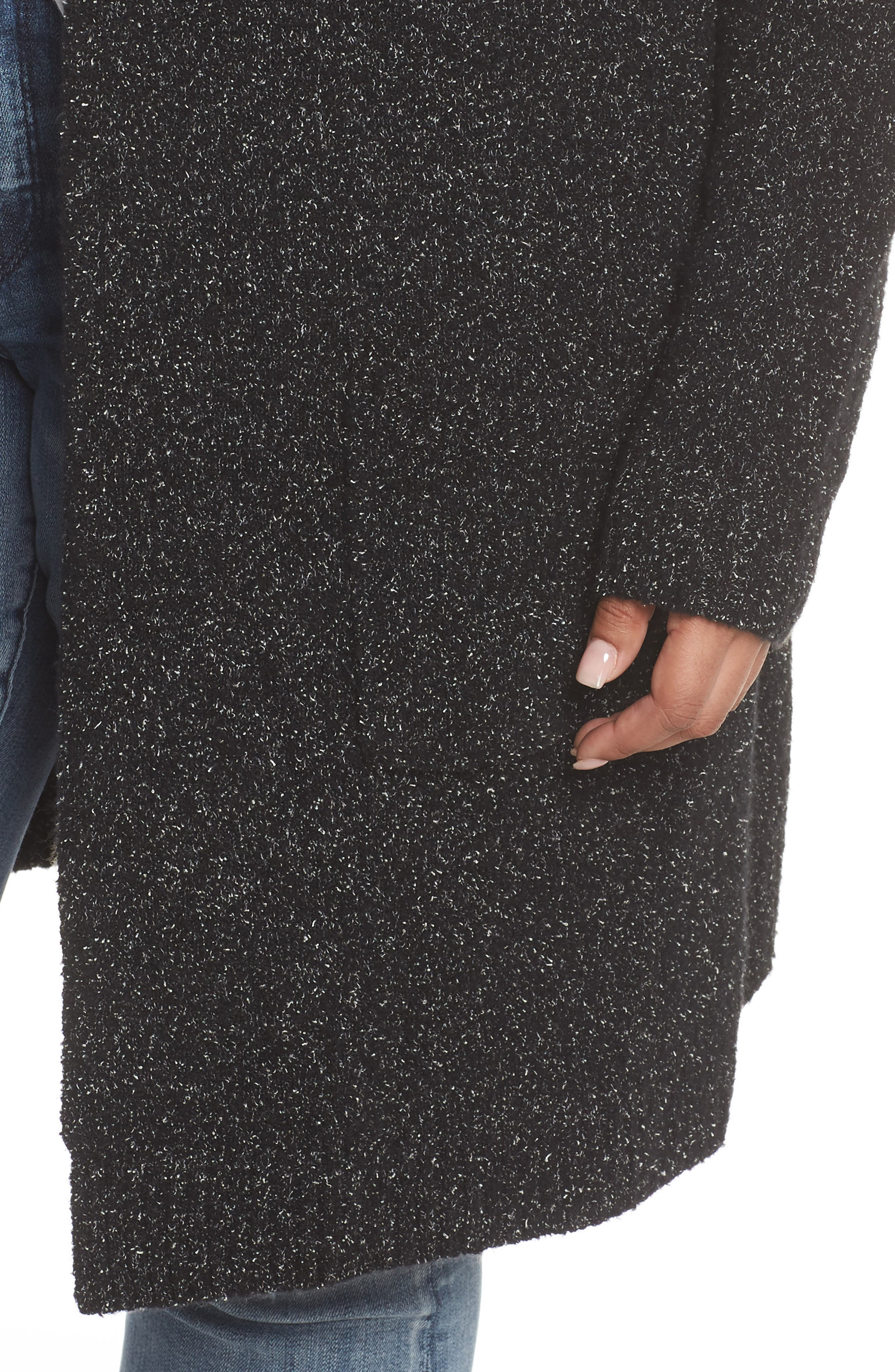 Hooded Cardigan,                             Alternate thumbnail 4, color,                             BLACK