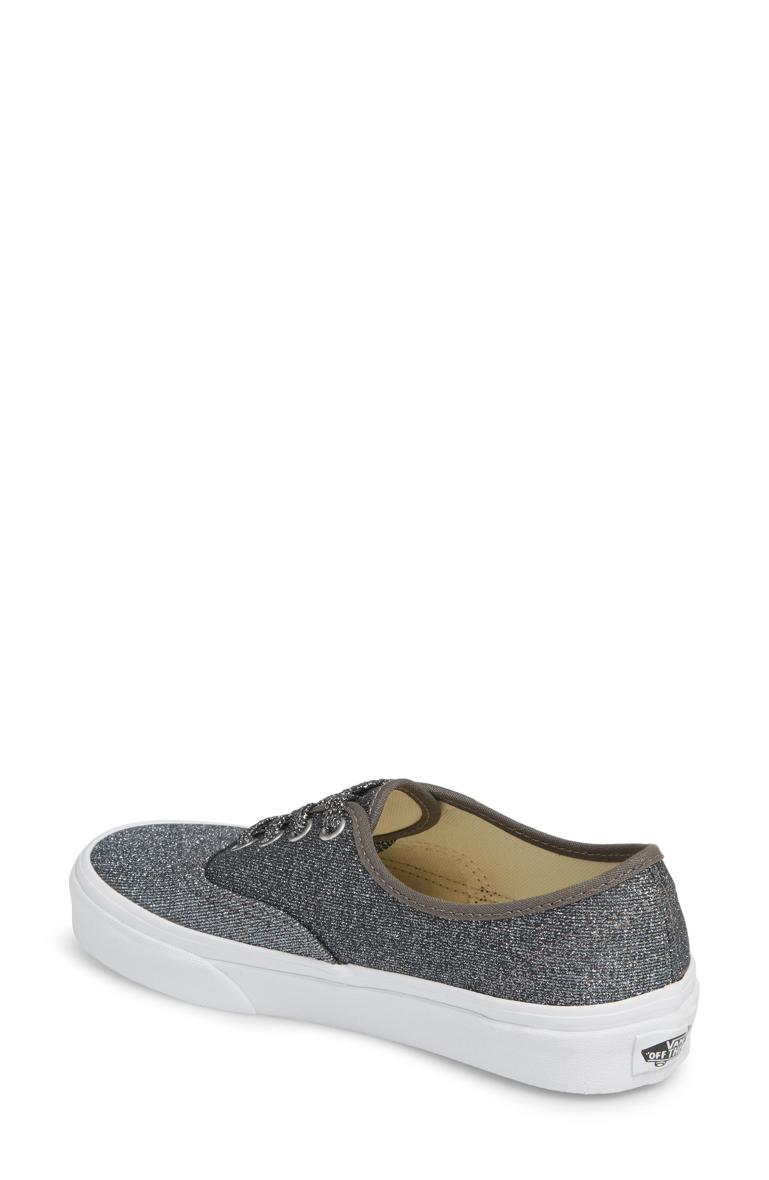 UA Authentic Lurex Sneaker,                             Alternate thumbnail 2, color,                             BLACK/ TRUE WHITE GLITTER