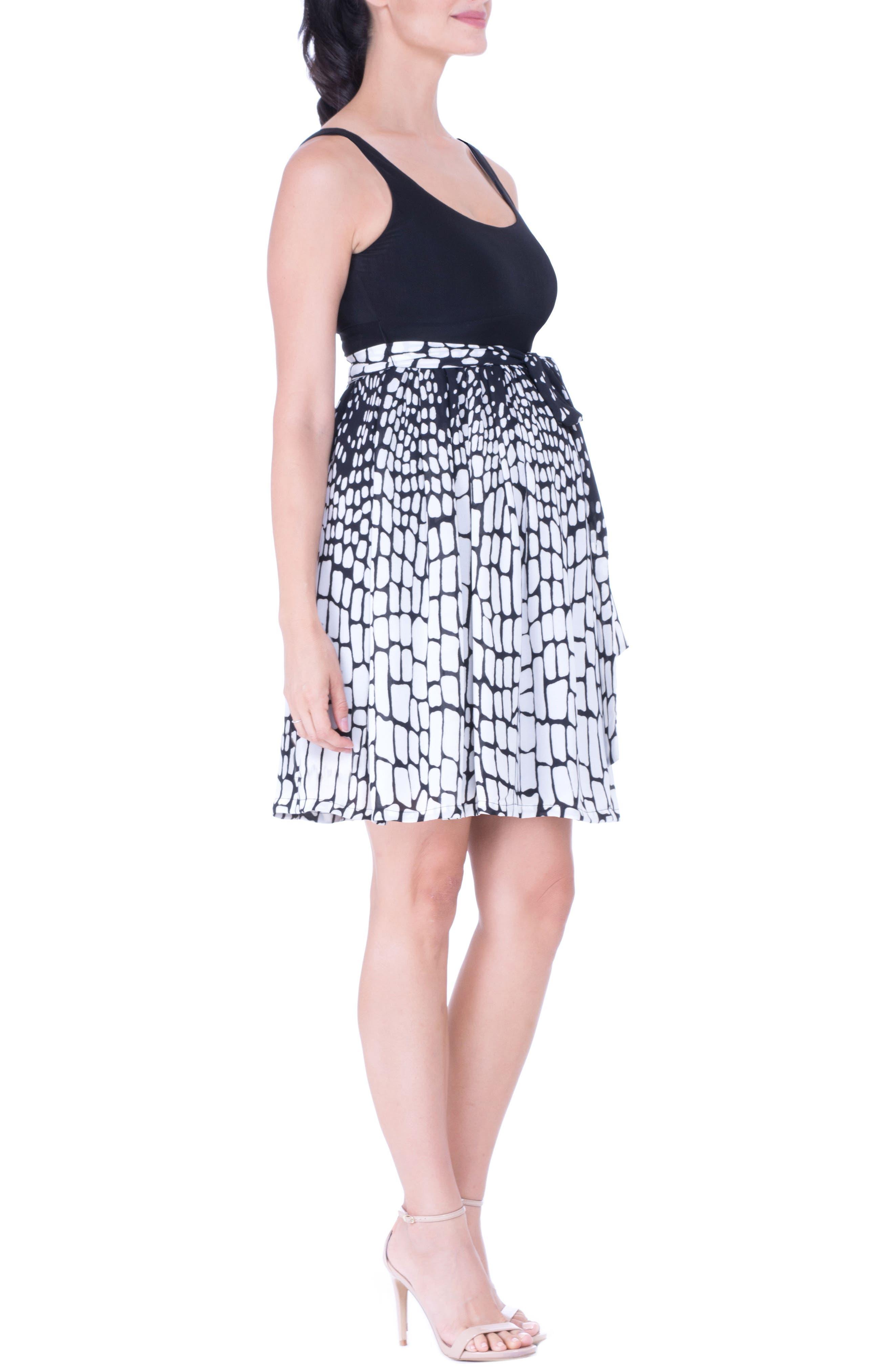 Print Maternity Dress,                             Alternate thumbnail 3, color,                             BLACK/ WHITE