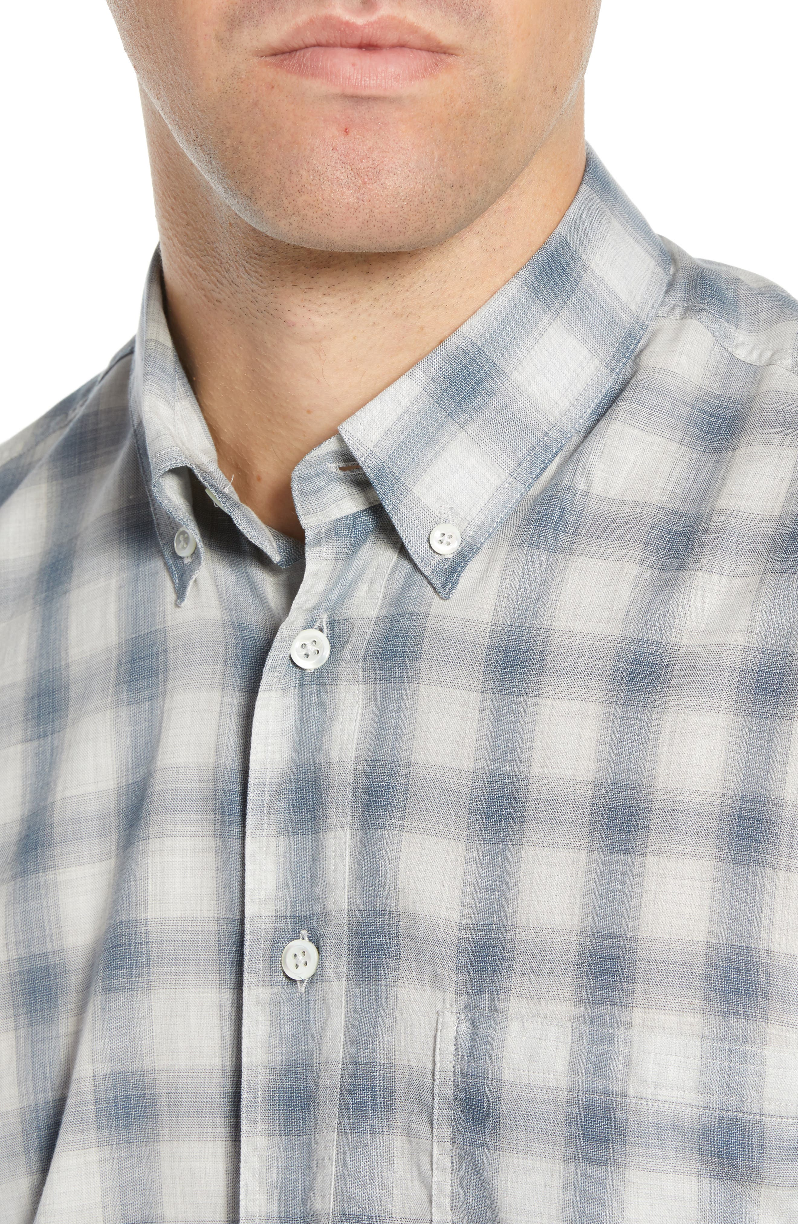 Tuscumbia Regular Fit Pattern Sport Shirt,                             Alternate thumbnail 2, color,                             BLUE/ GREY
