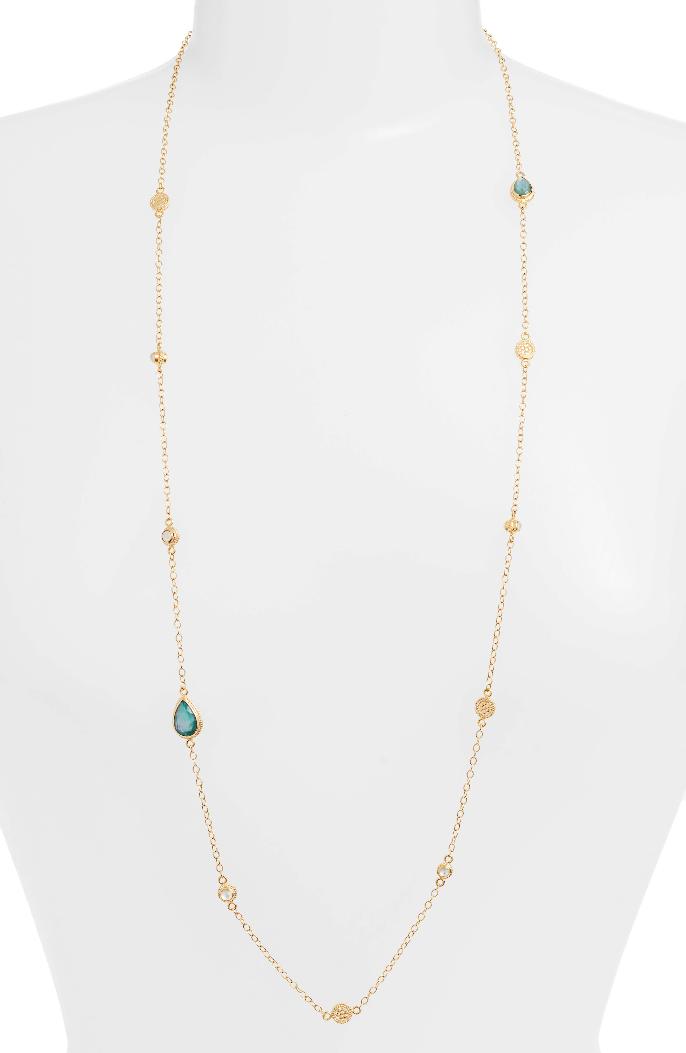 ANNA BECK Malachite & Mother of Pearl Station Necklace, Main, color, GOLD/ MALACHITE/ MOP