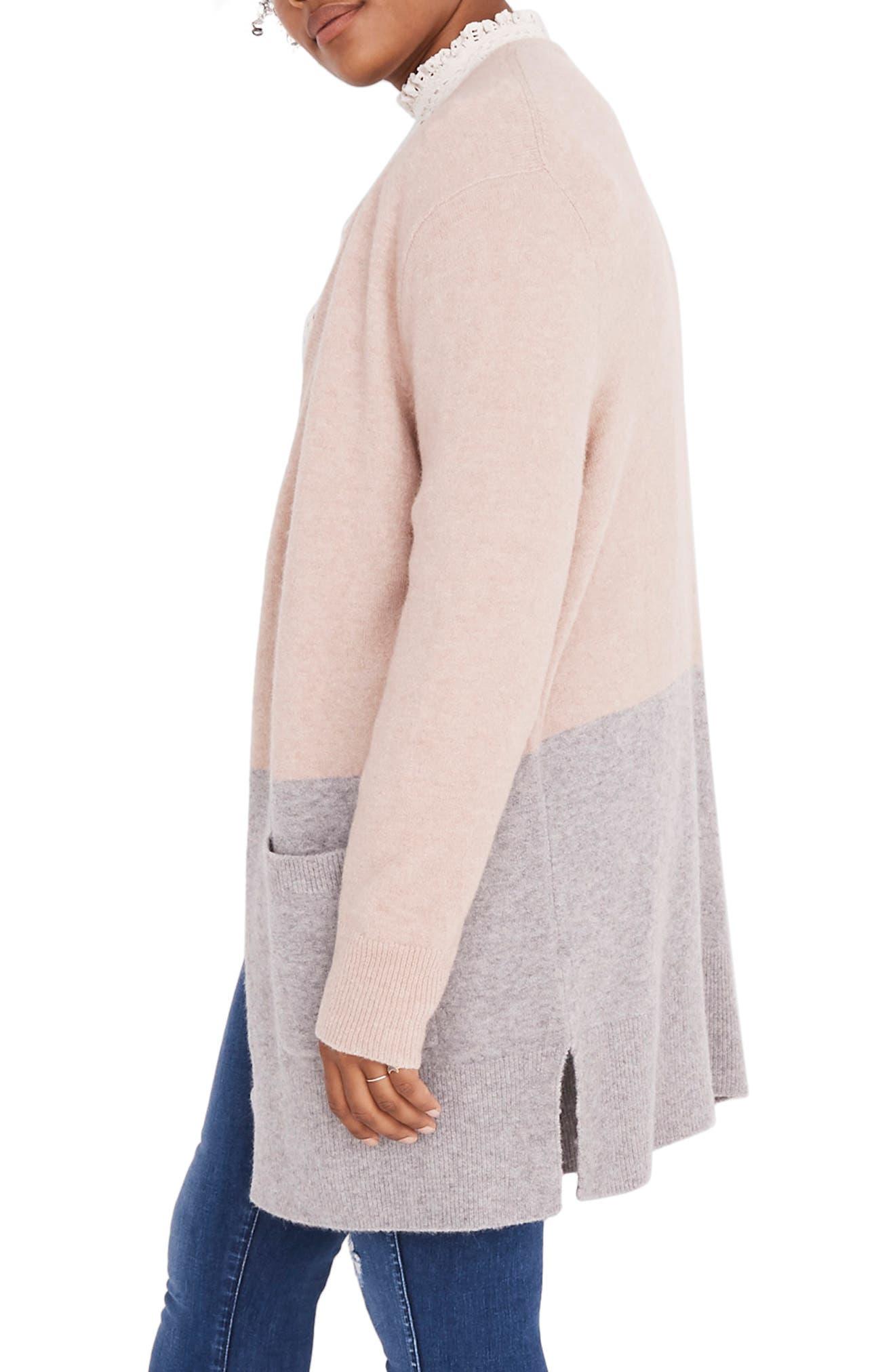 Kent Colorblock Cardigan Sweater,                             Alternate thumbnail 7, color,                             HEATHER BEIGE